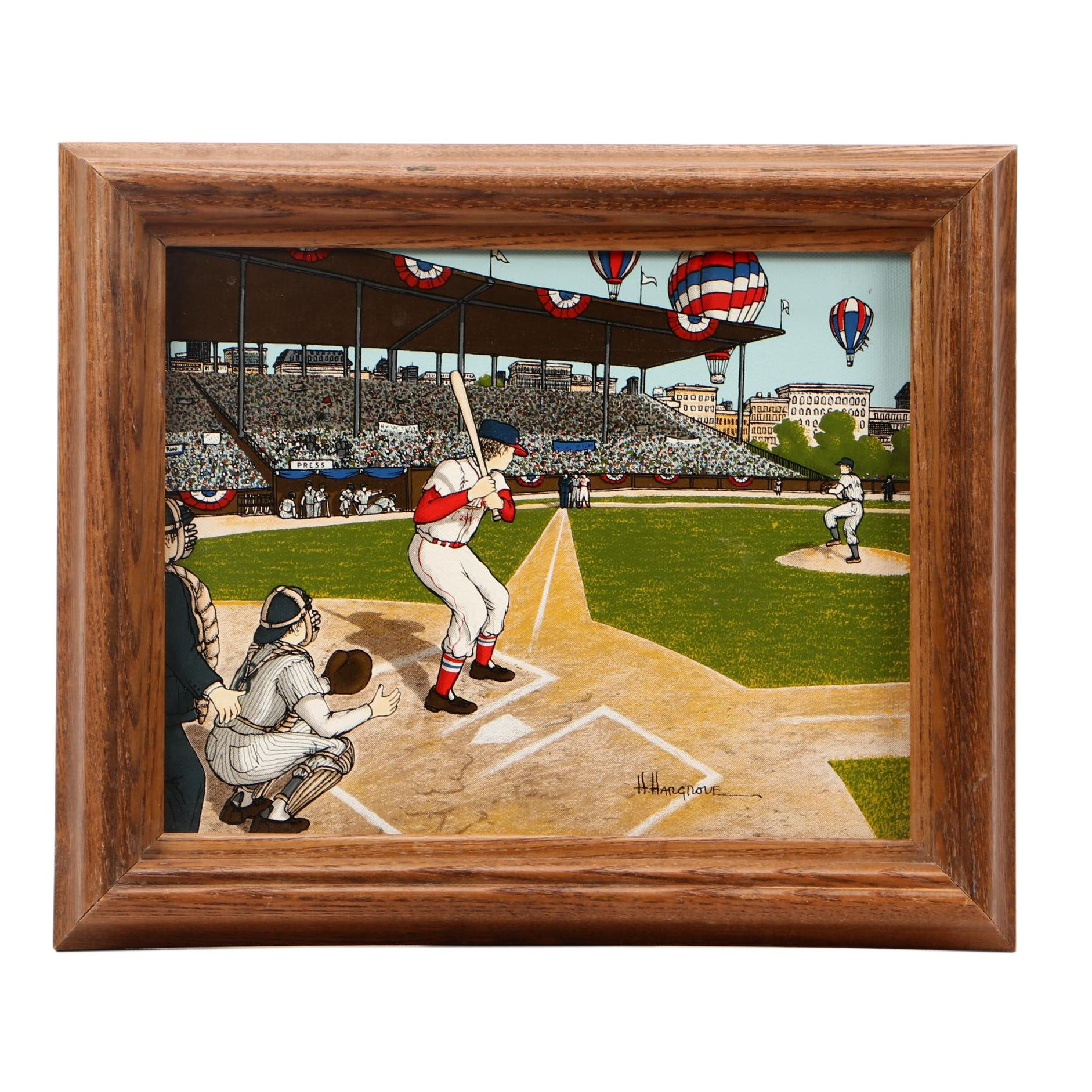 """H. Hargrove Serigraph on Canvas """"Cardinals Opening Day"""""""