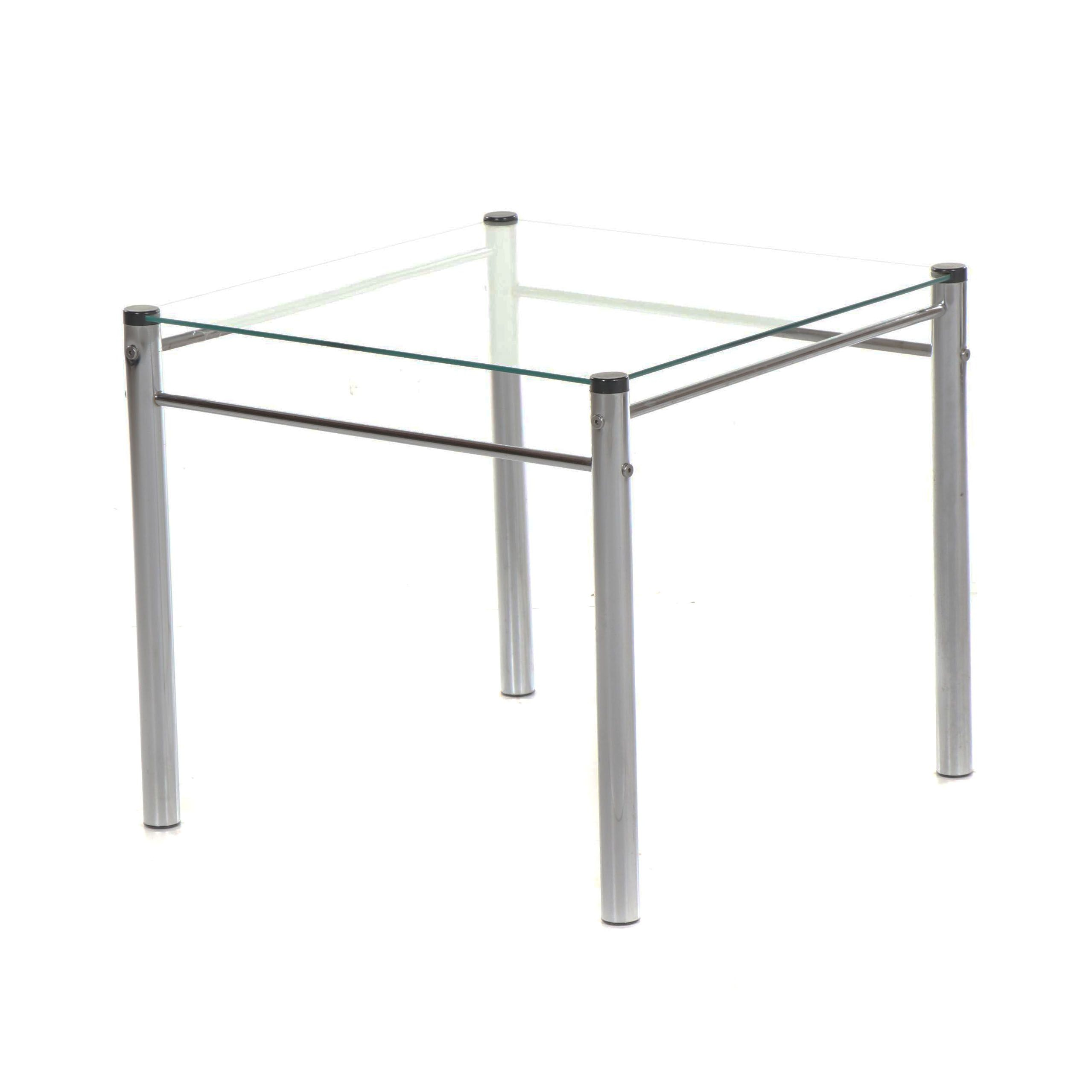Glass Top Metal Side Table, 21st Century