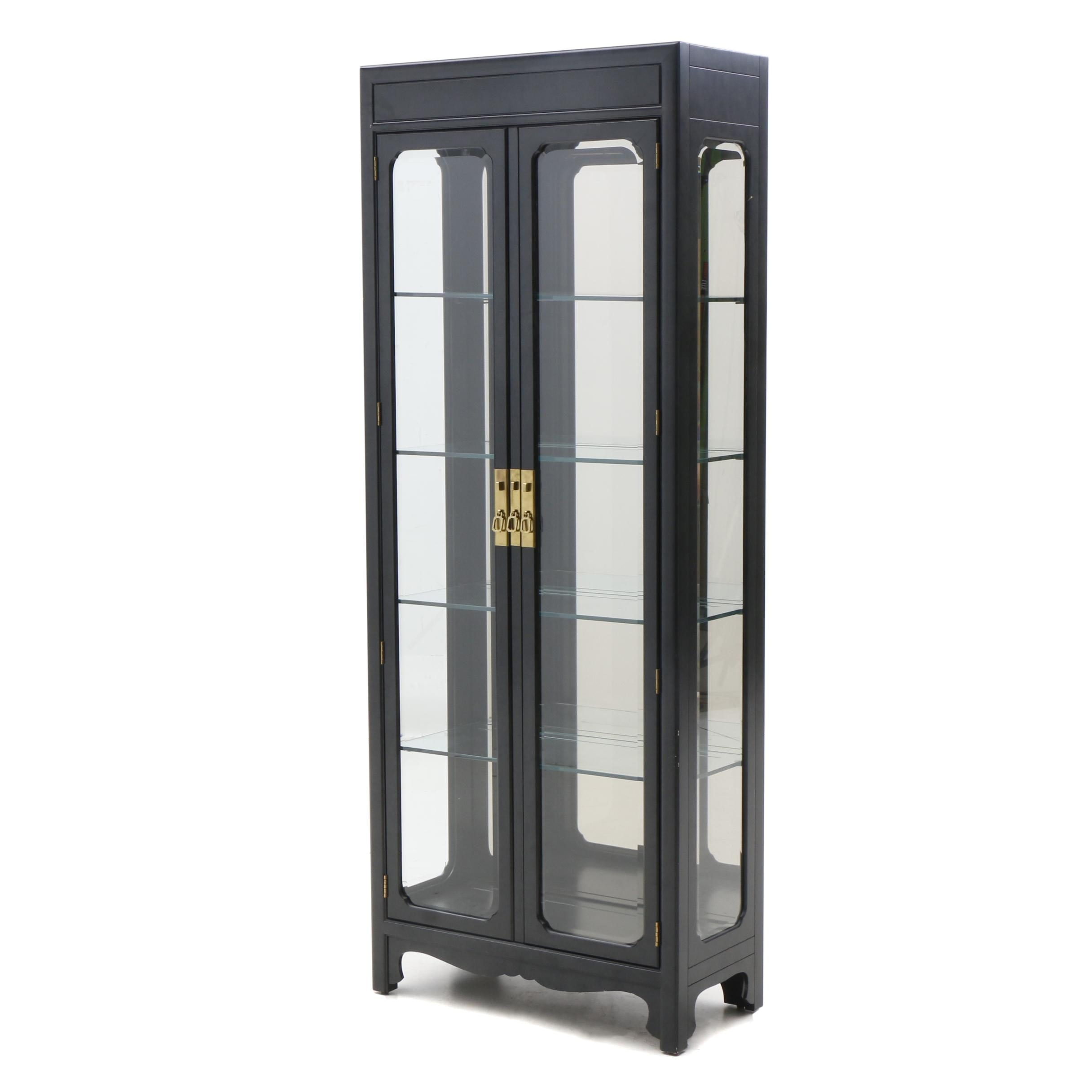 Henredon Illuminated Black Lacquered Glass Curio Cabinet