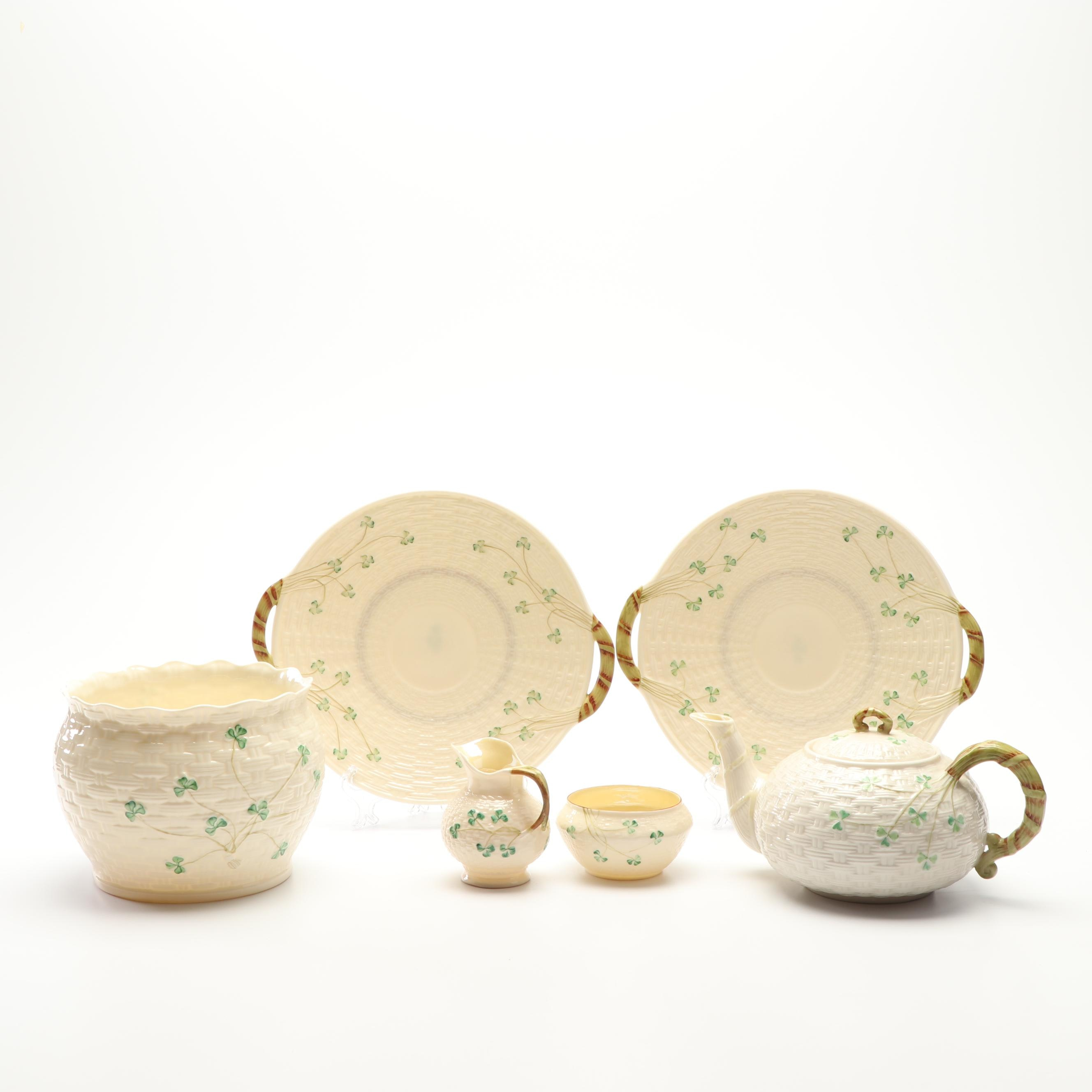 "Vintage Belleek ""Shamrock"" Porcelain Tea Service with Handled Cake Plates"