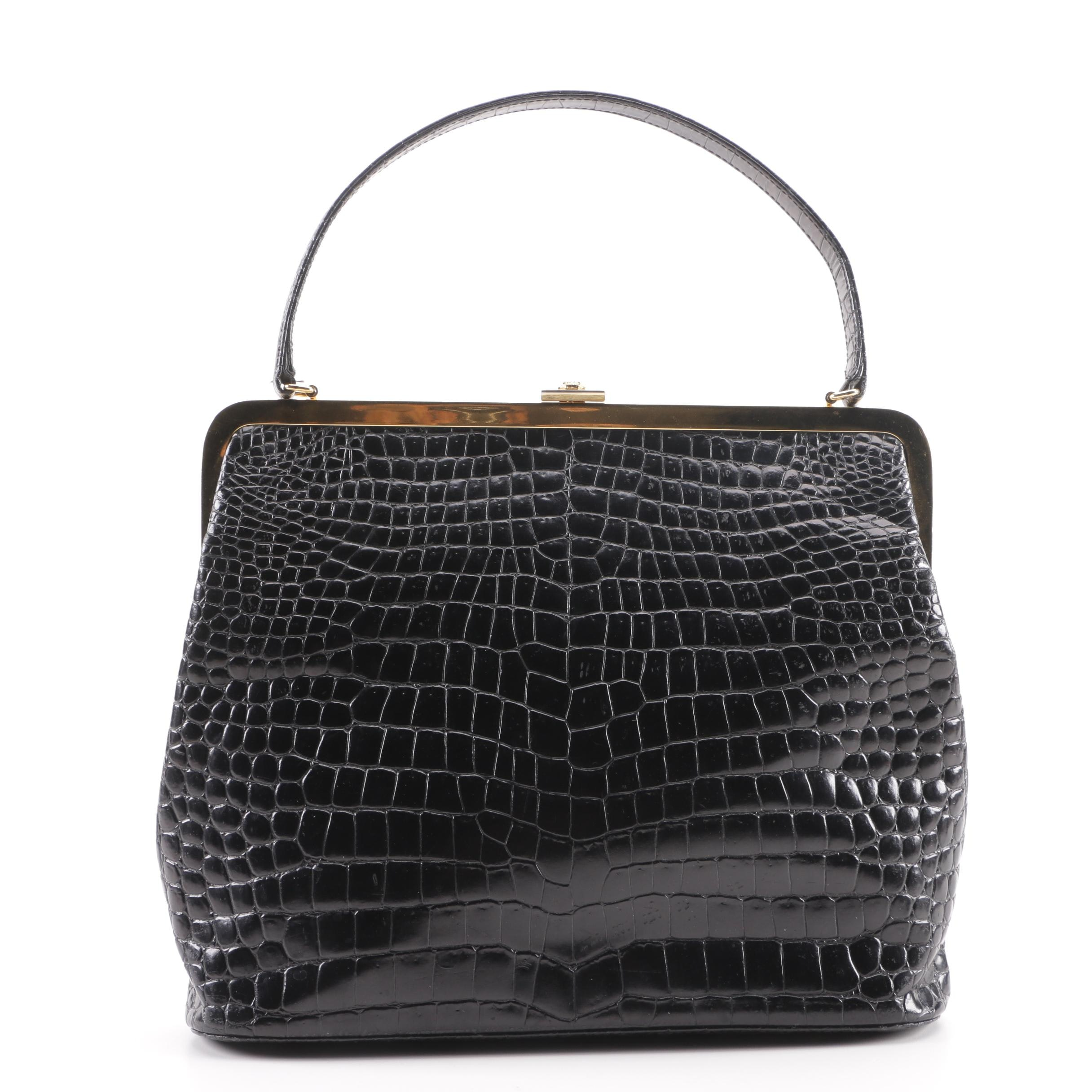 Gianni Versace Couture Alligator Embossed Black Leather Frame Bag, Made in Italy