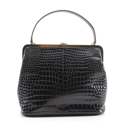 Gianni Versace Couture Alligator Embossed Black Leather Frame Bag Made In Italy
