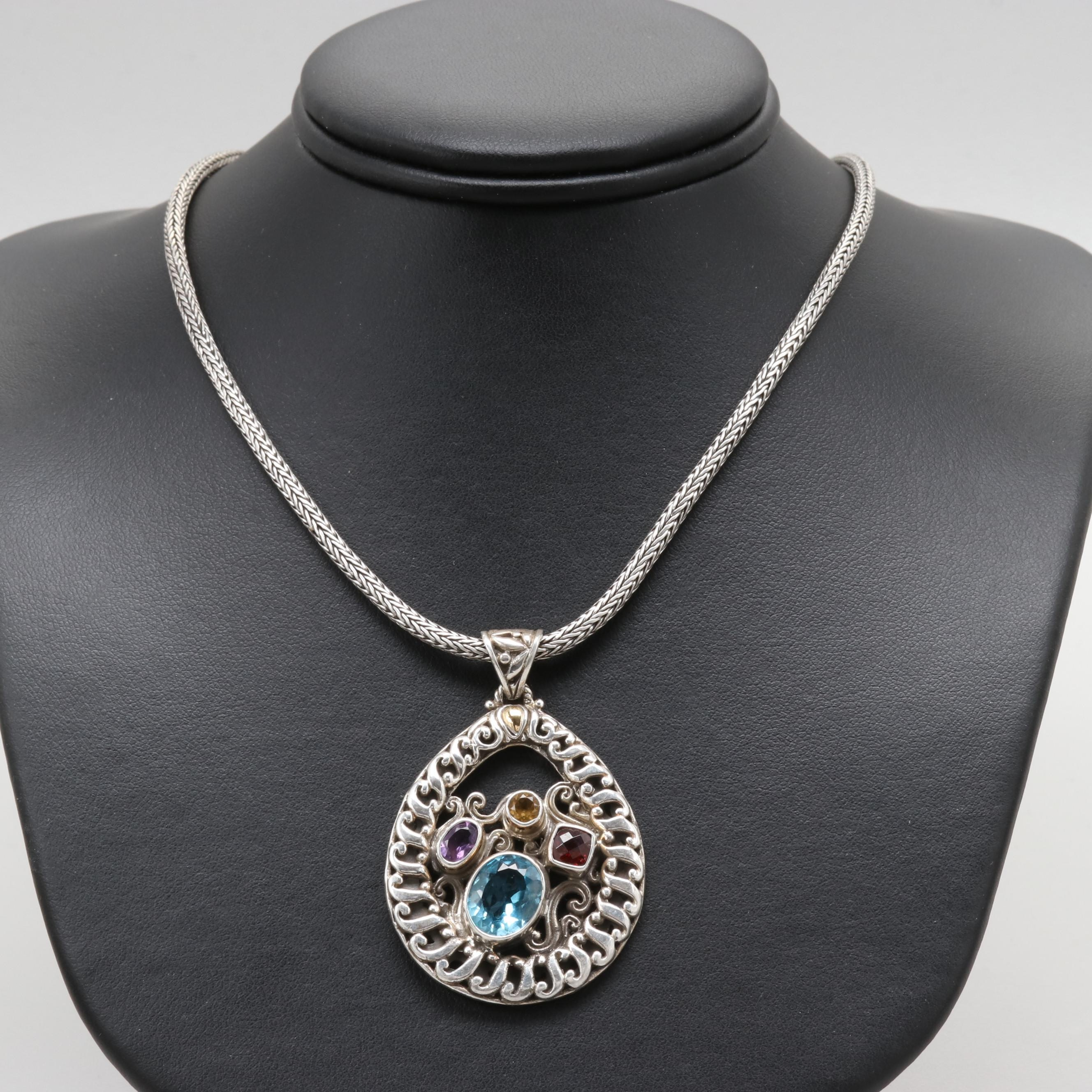 Robert Manse Sterling Silver Blue Topaz and Gemstone Pendant Necklace