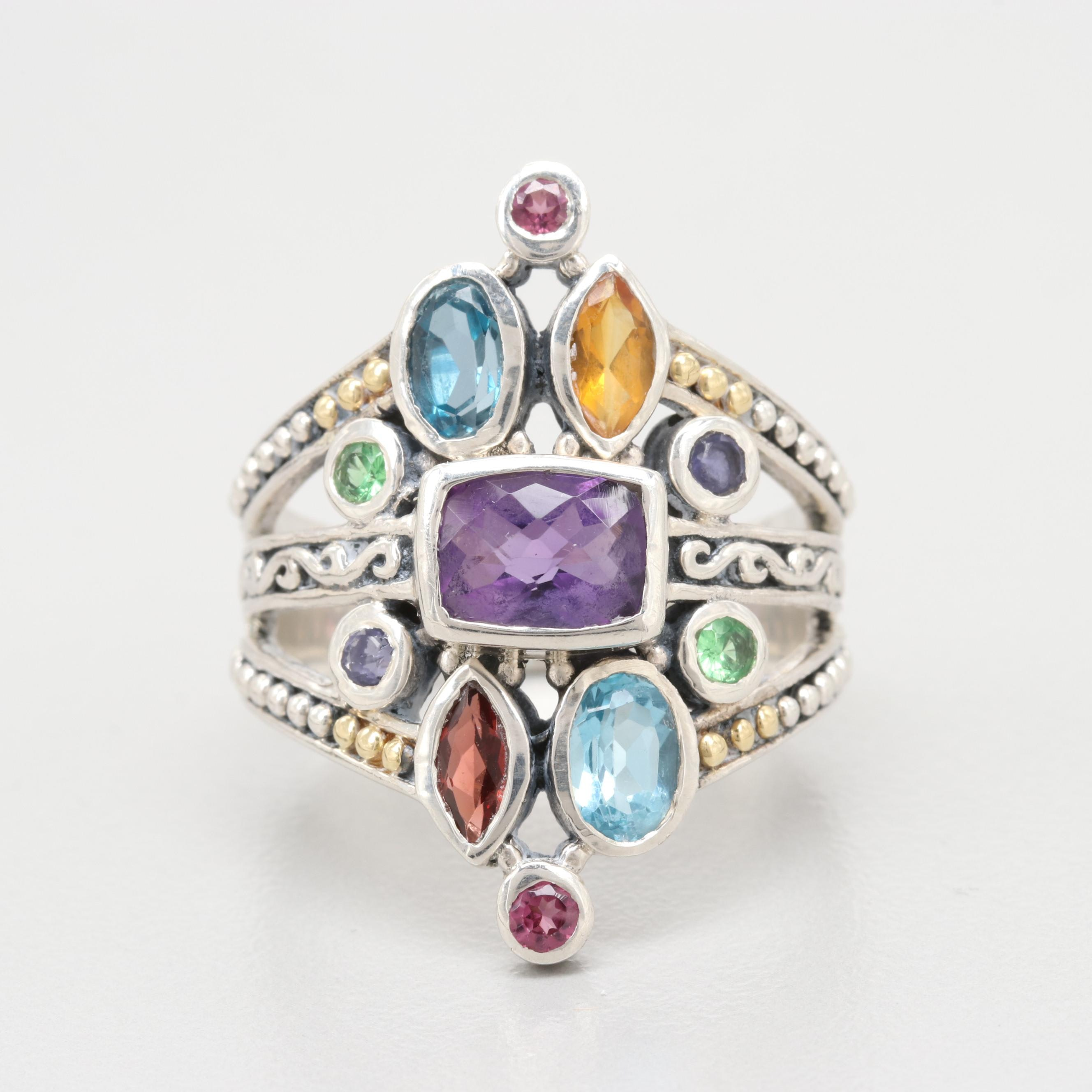 Robert Manse Sterling Silver Amethyst and Gemstone Ring with 18K Gold Accents