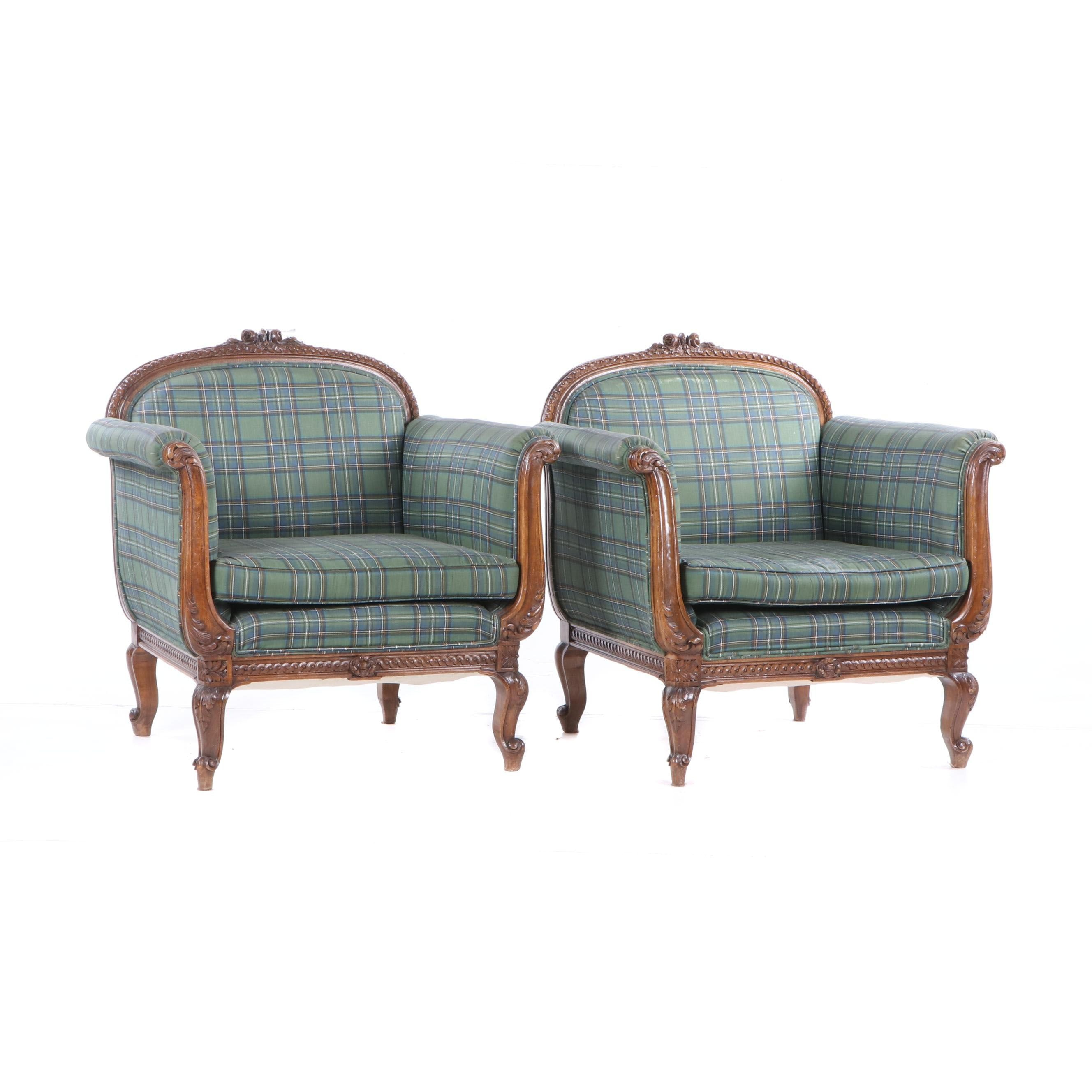 Louis XV Style Hand Carved Wood Frame Reupholstered Armchairs, Early 20th C.