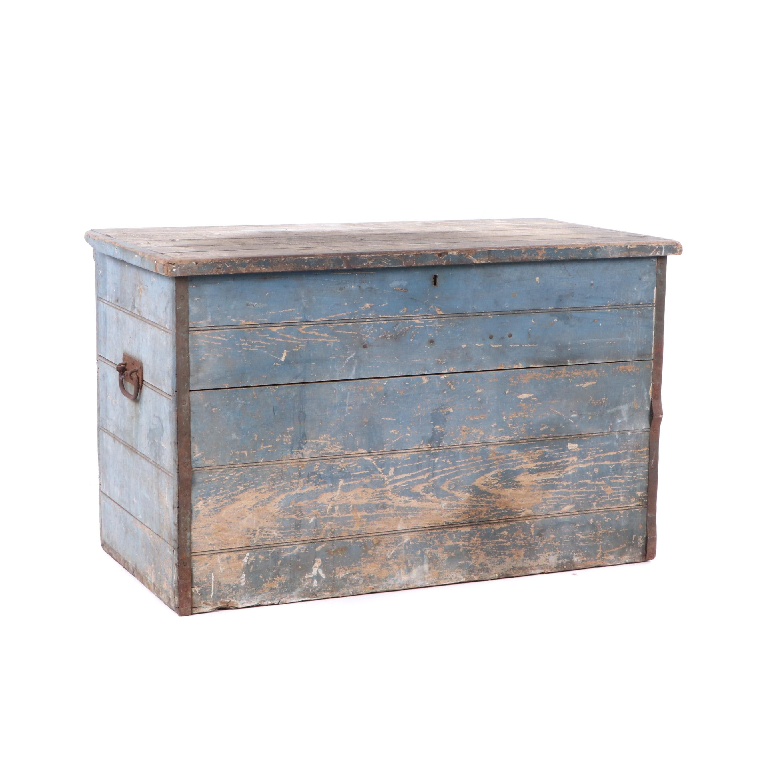Painted Oak Chest, Late 19th Century