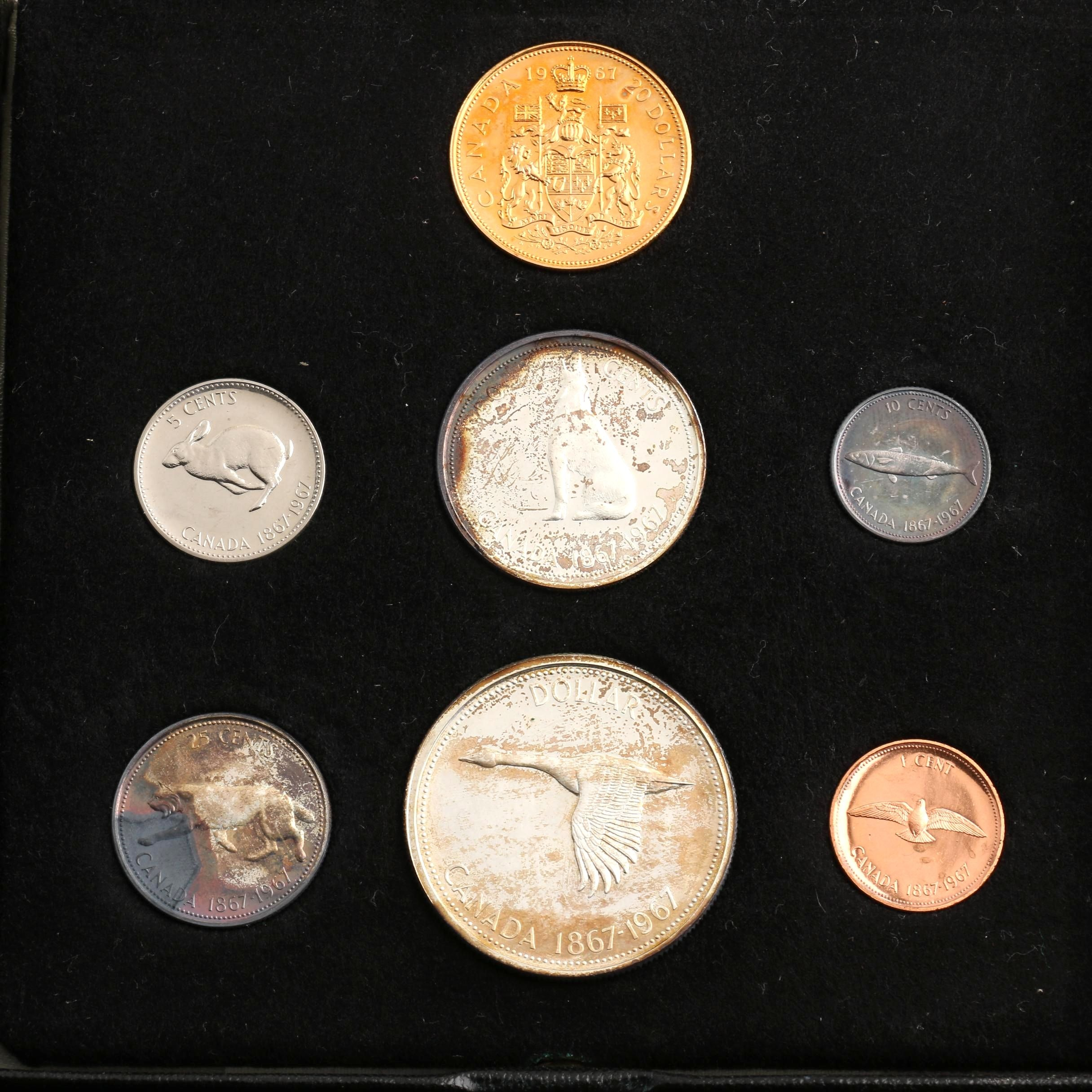 1867-1967 Commemorative Canadian Seven-Coin Mint Set with $20 Half Oz. Gold Coin