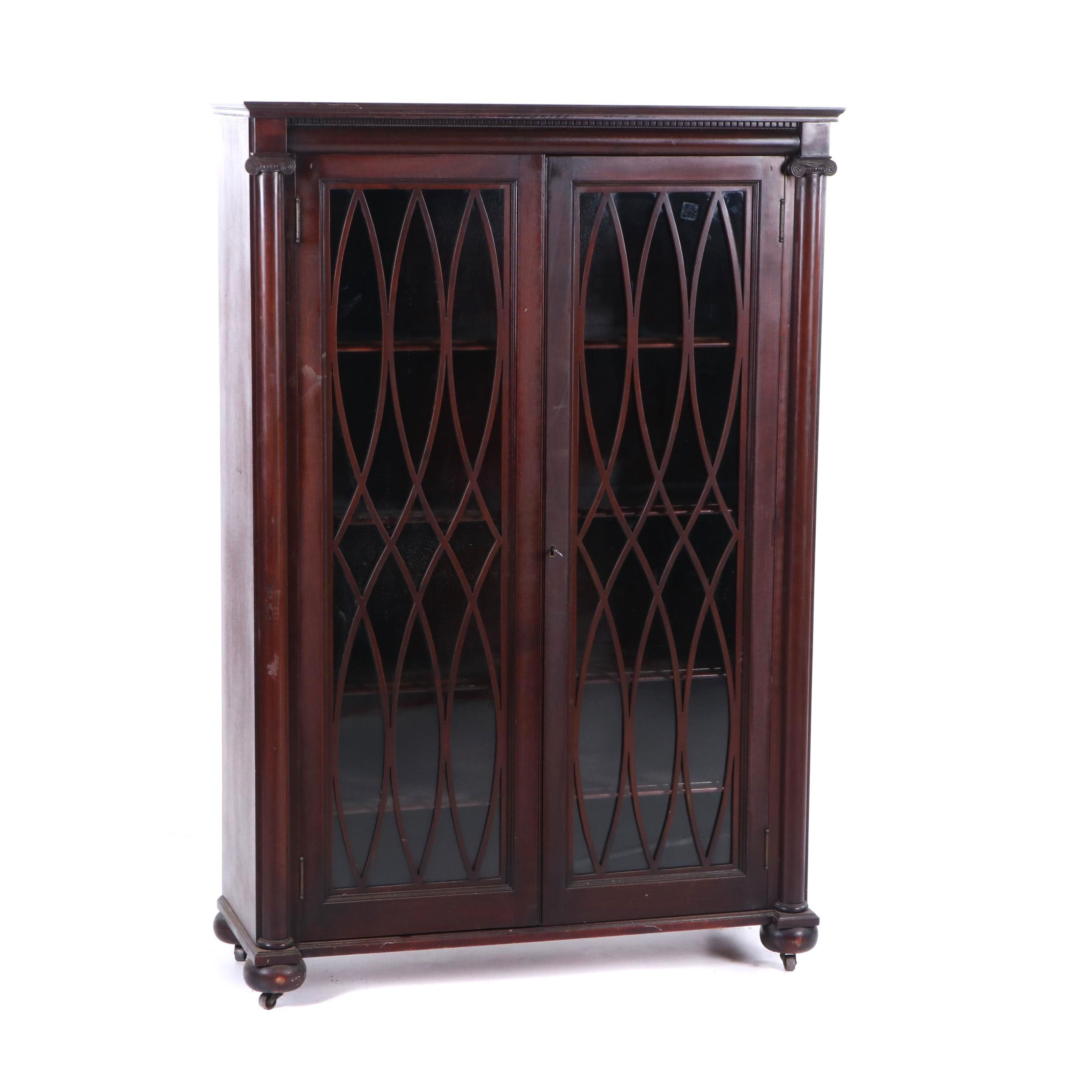 Neoclassical Style Mahogany Four-Shelf Bookcase on Casters, Mid-20th Century