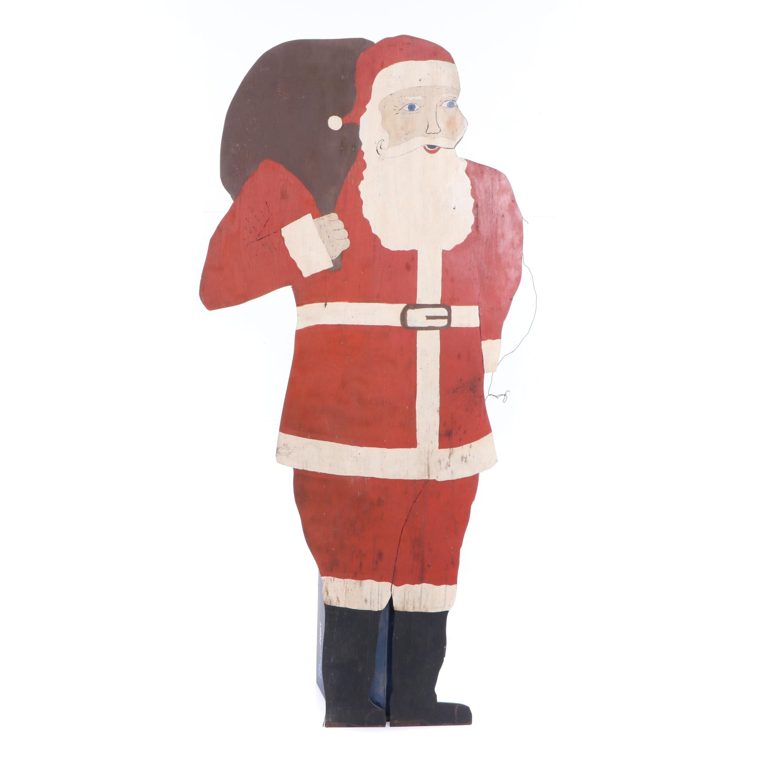 Vintage Handcrafted Life-Size Santa Claus Wooden Display