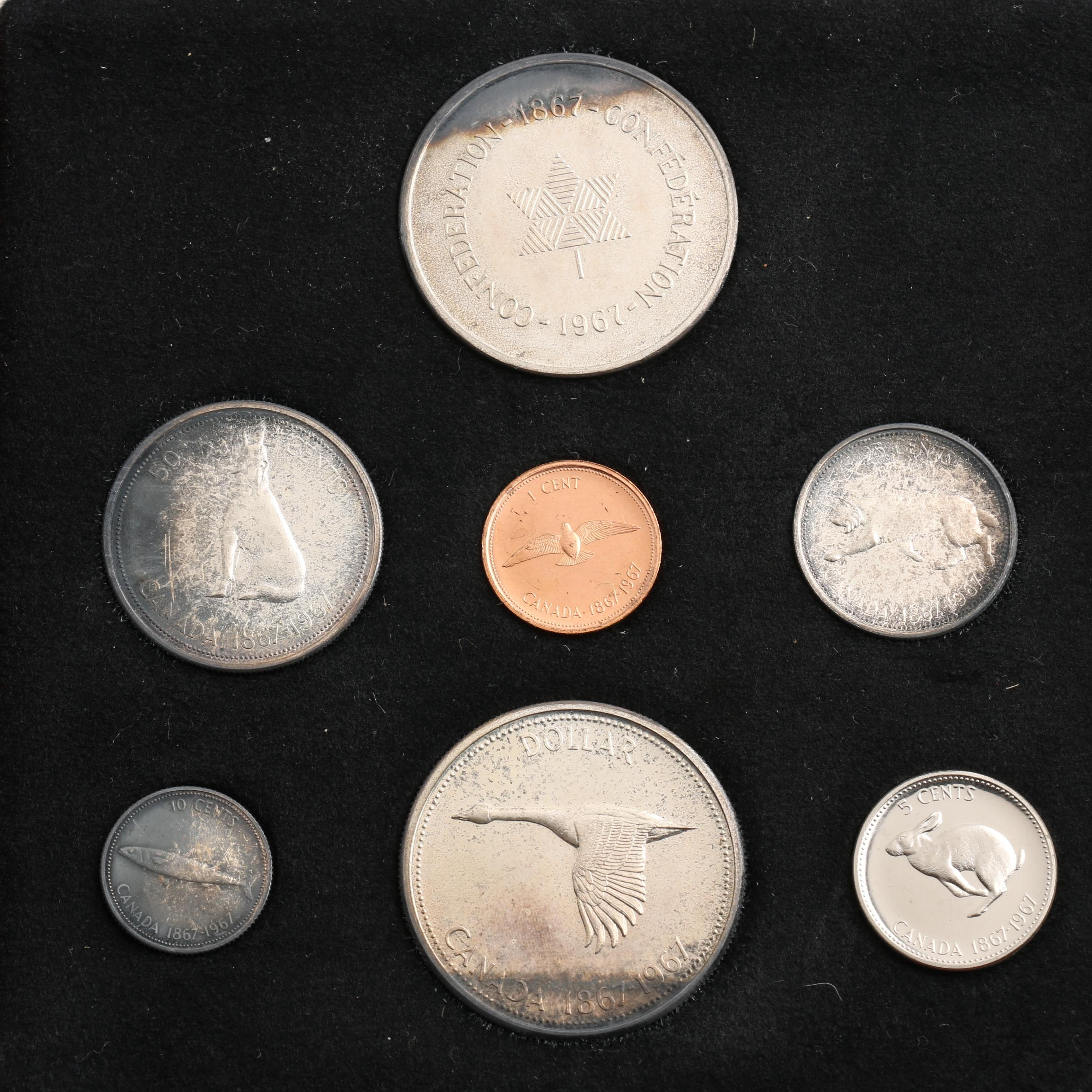 1867-1967 Commemorative Canadian Seven-Coin Mint Set with 1967 Silver Medal
