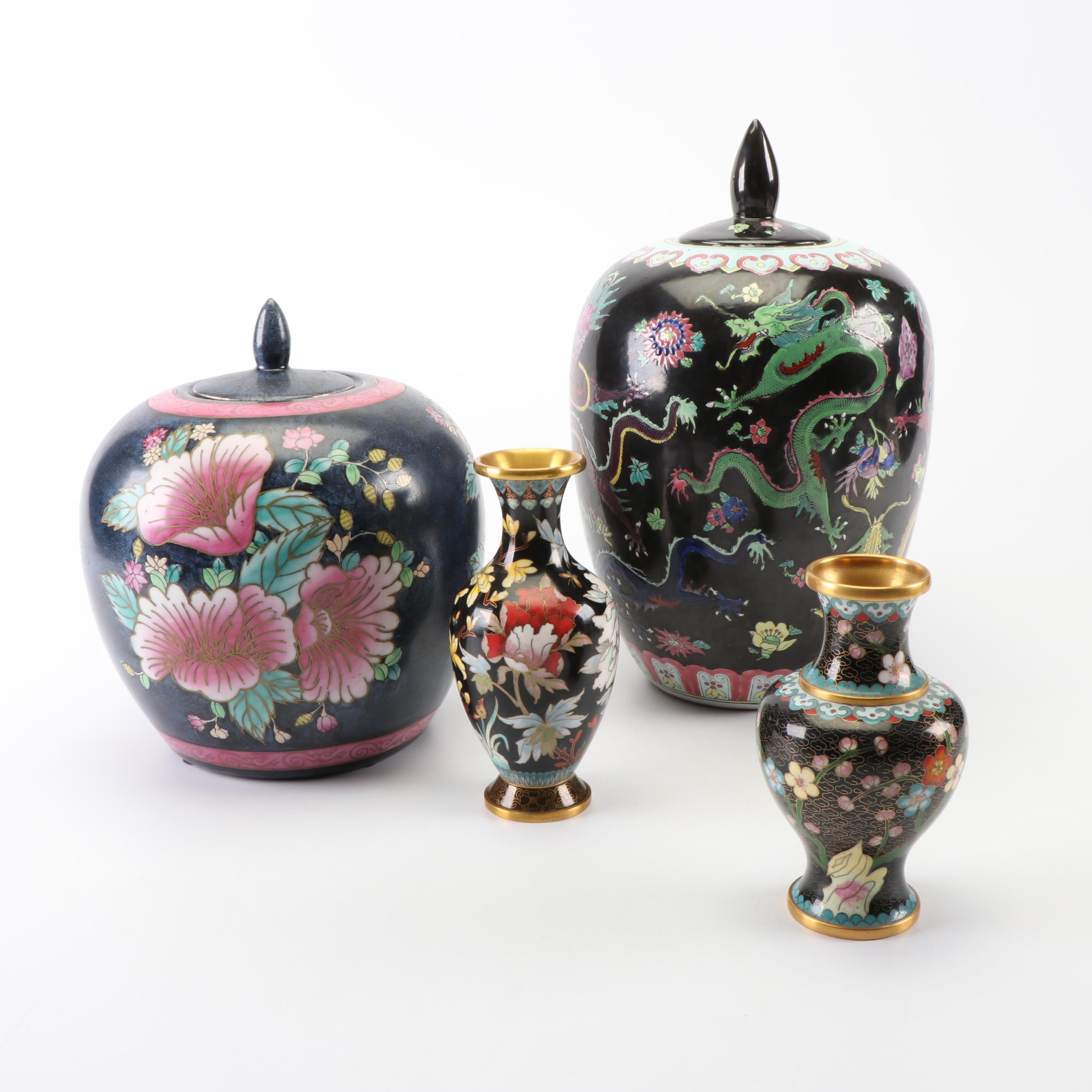 Chinese Hand-Painted Ceramic Ginger Jars and Cloisonné Vases