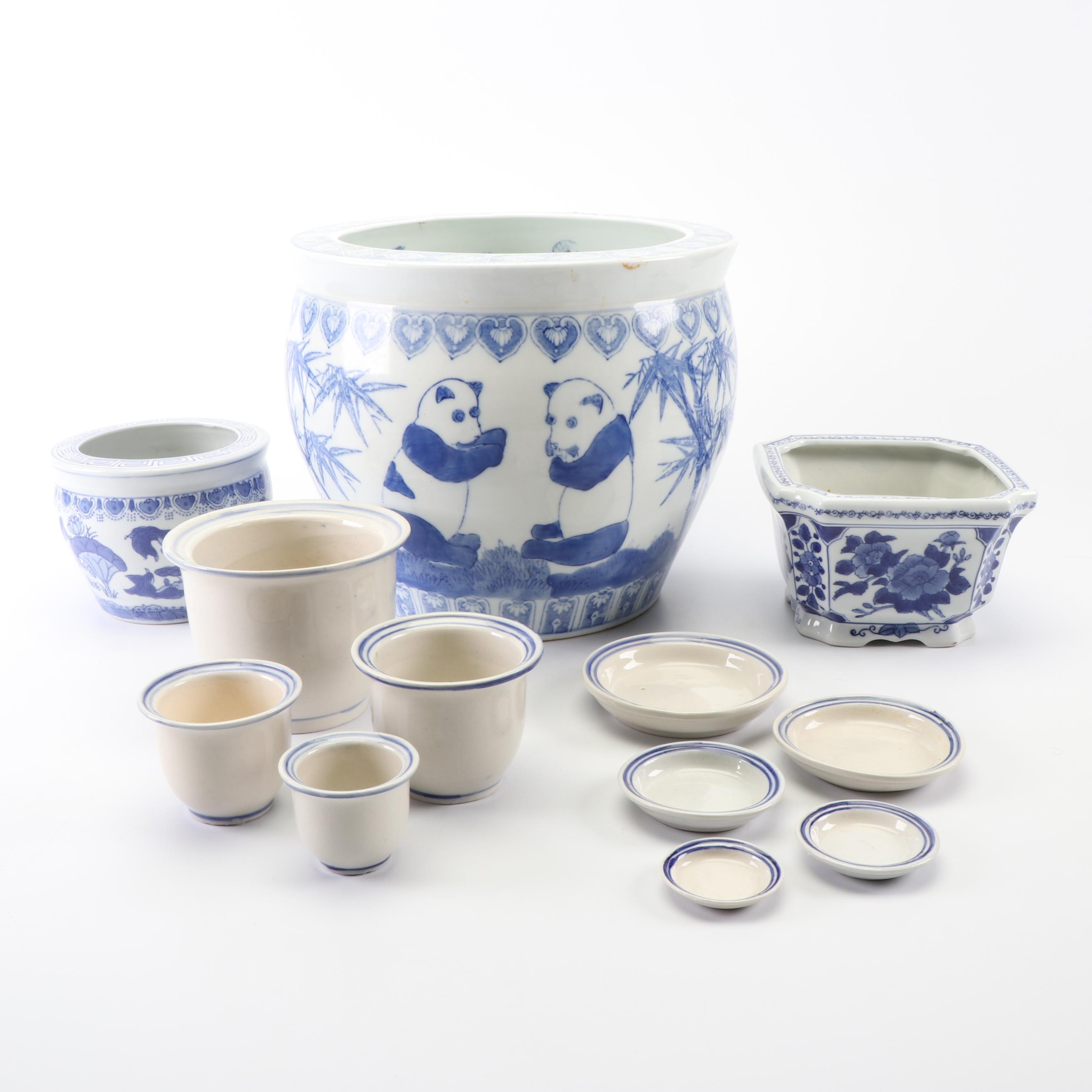 Chinese Blue and White Ceramic Planters and Bowls