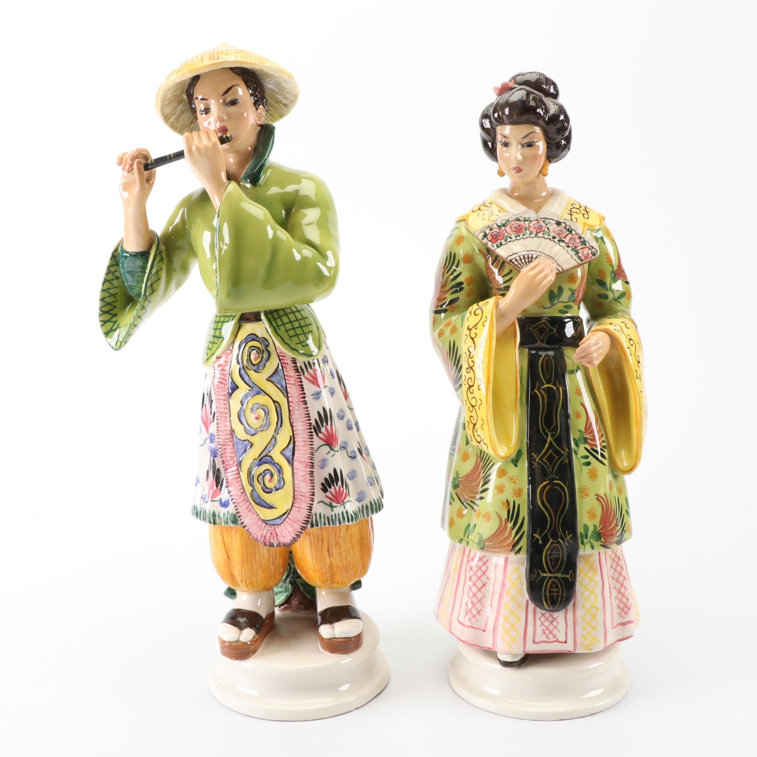 Hand-Painted Italian Asian-Inspired Ceramic Figures
