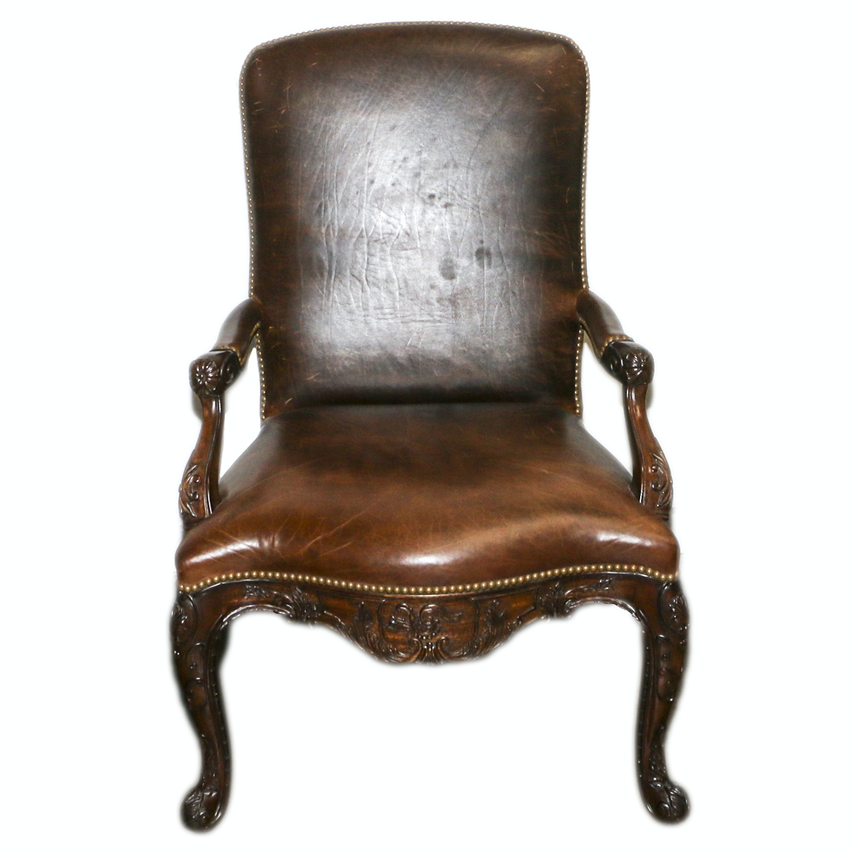 French Provincial Style Carved Wood Frame Leather Armchair, 21st Century