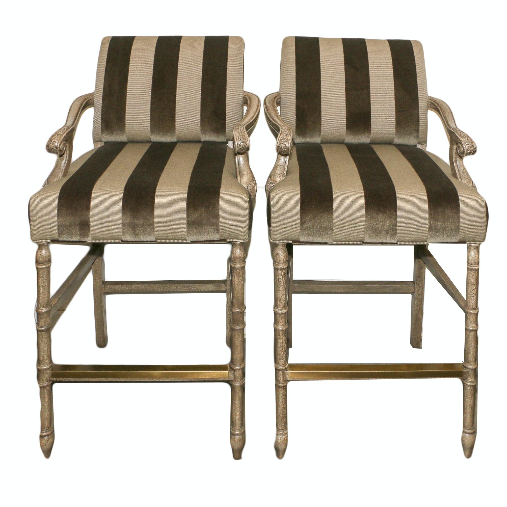 Louis XVI Style Painted Wood Frame Upholstered Barstools, 21st Century