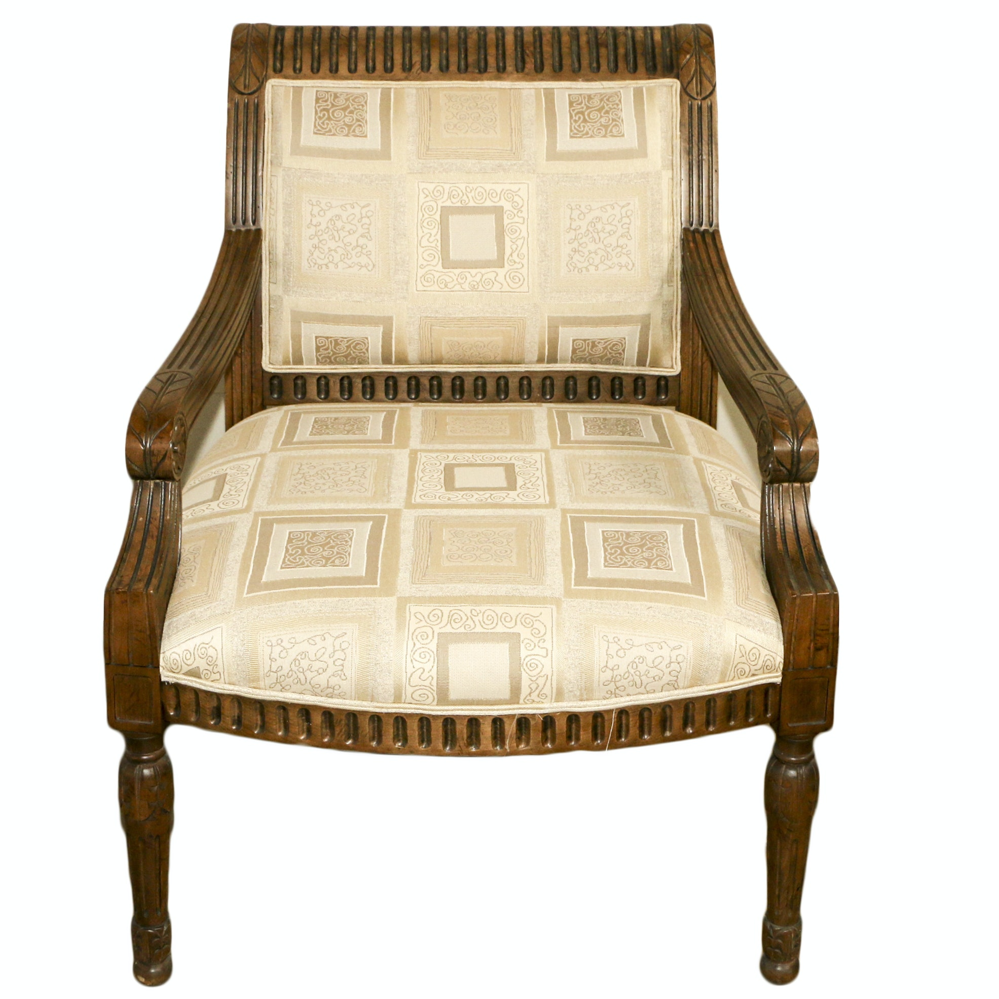 Walnut Stained Wood Frame Upholstered Armchair, 21st Century