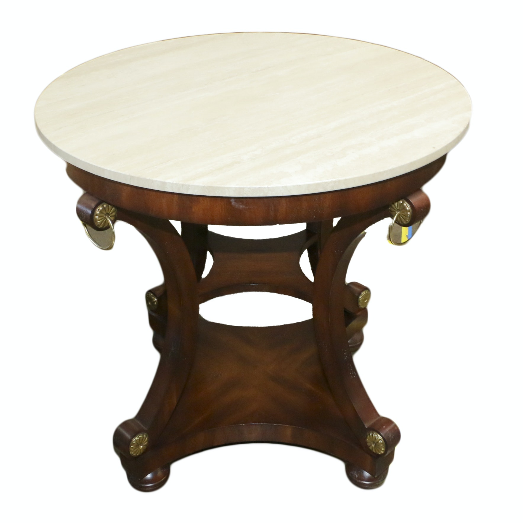 Regency Style Wood and Stone Side Table, 21st Century