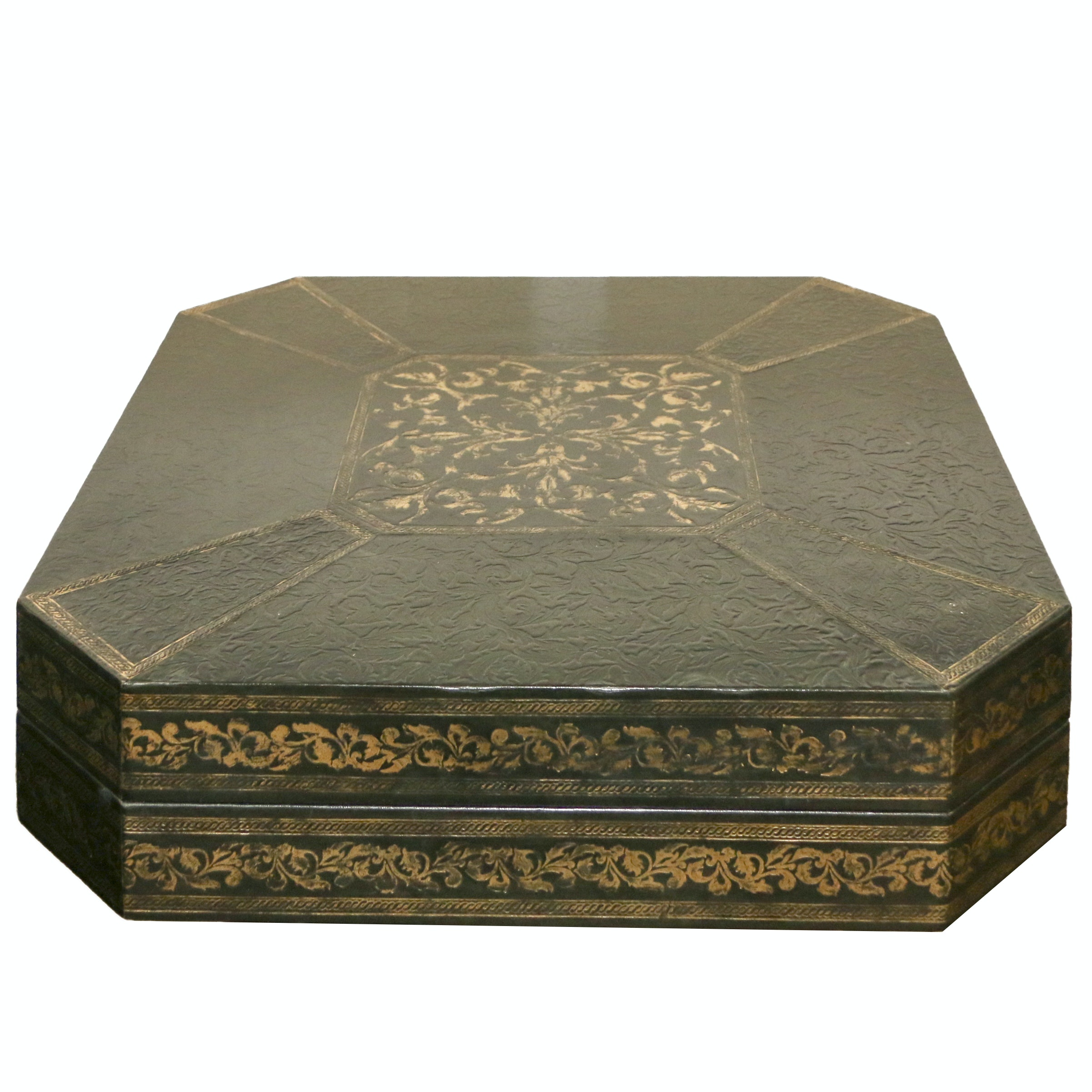 Embossed Leather and Wood Box
