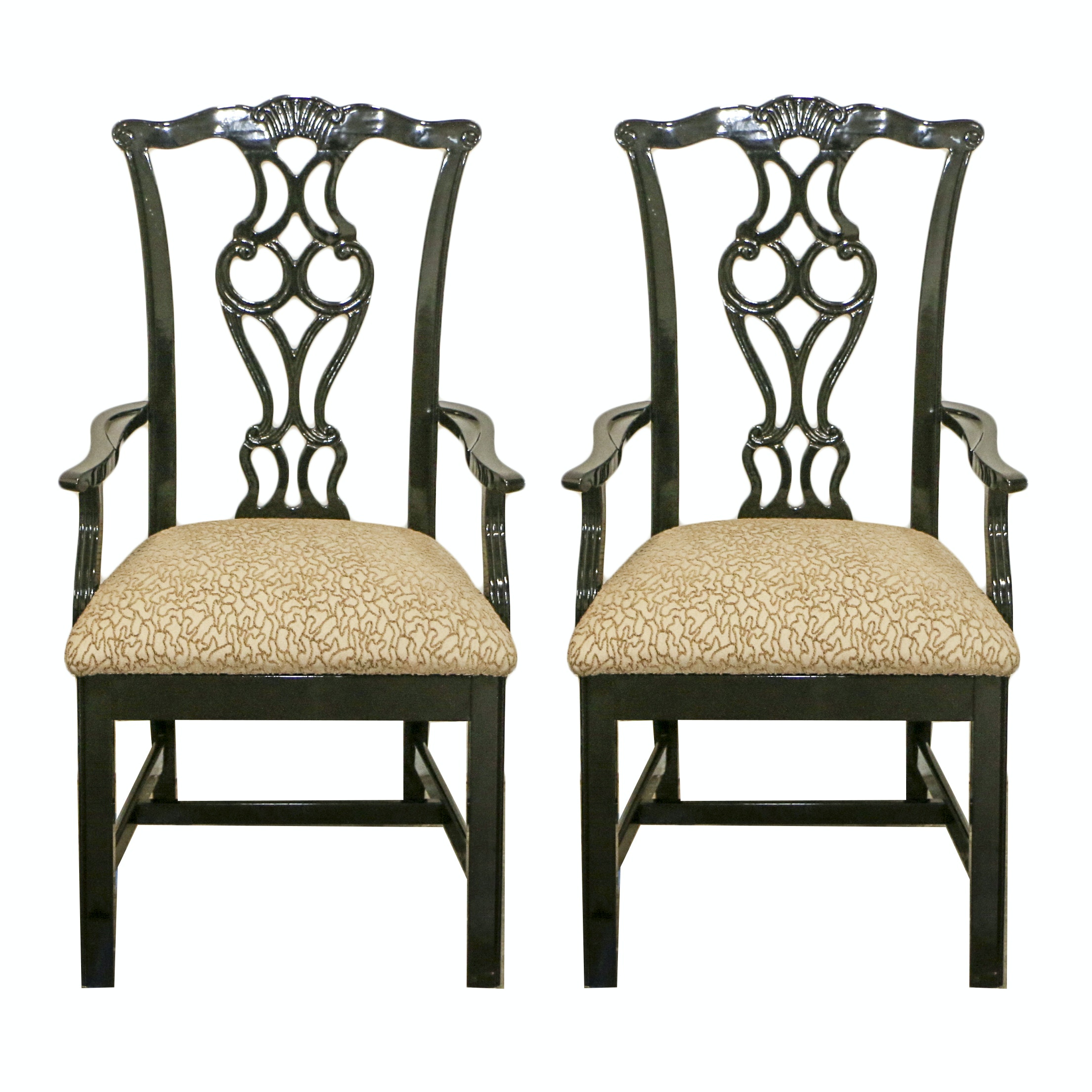 Chippendale Style Black Lacquered Frame Upholstered Armchairs, 21st Century