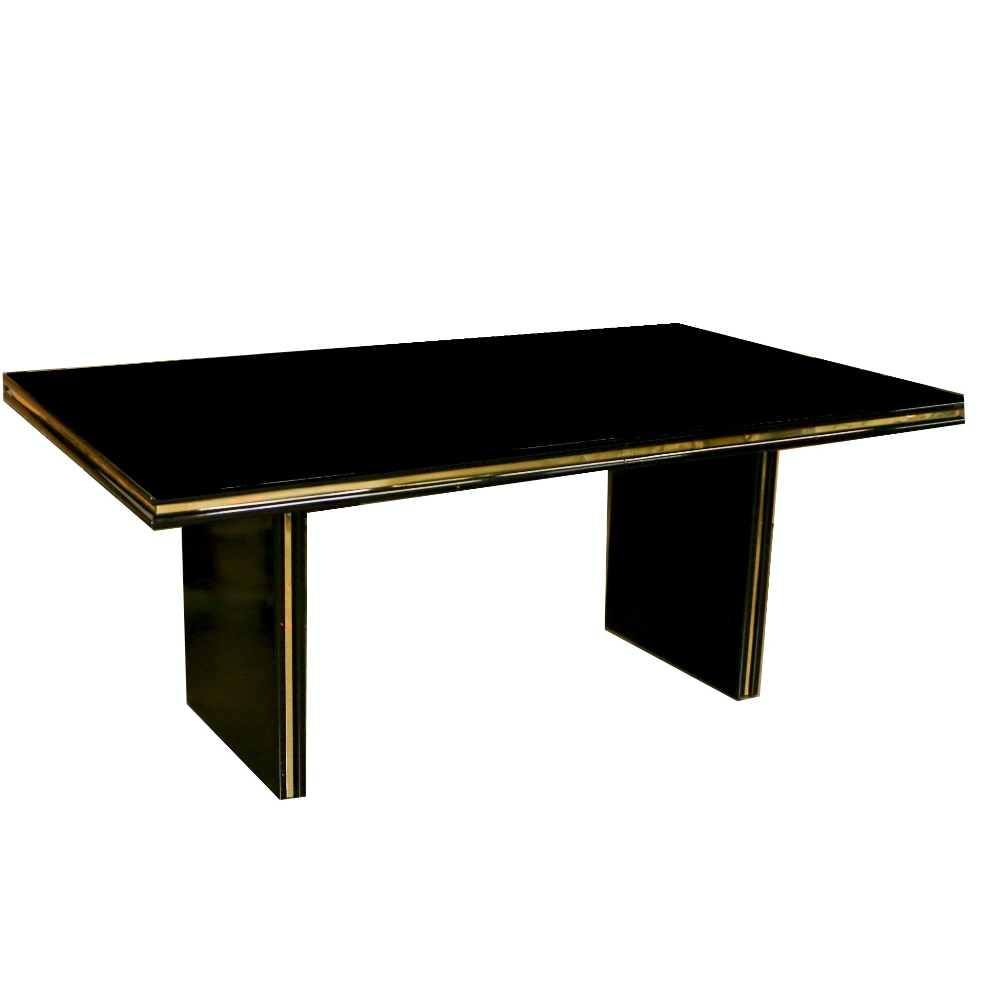 Deco Revival Style Black Lacquered Wood Dining Table, Late 20th Century