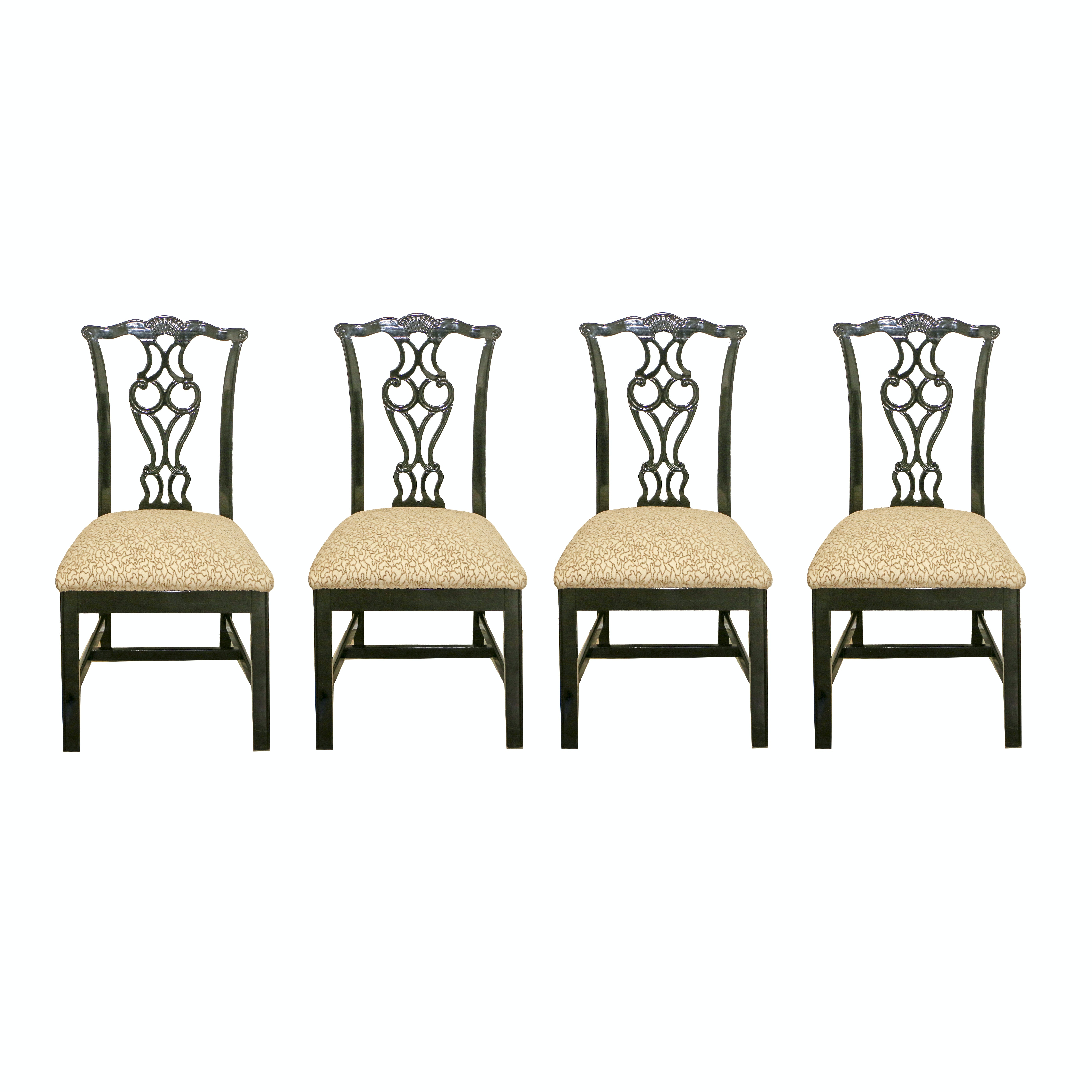 Chippendale Style Black Lacquered Frame Upholstered Side Chairs, 21st Century