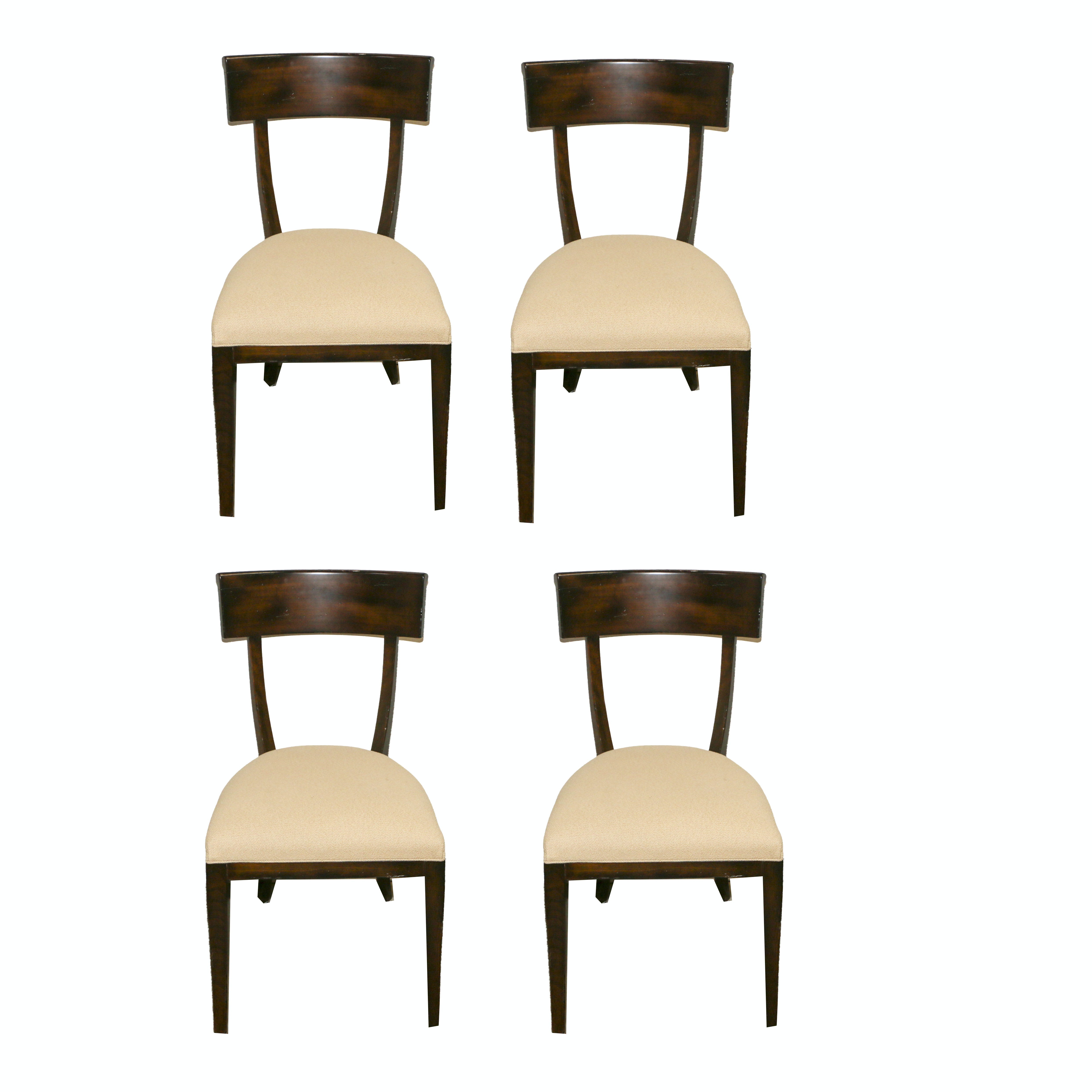 Wood Frame Upholstered Dining Chairs, 21st Century