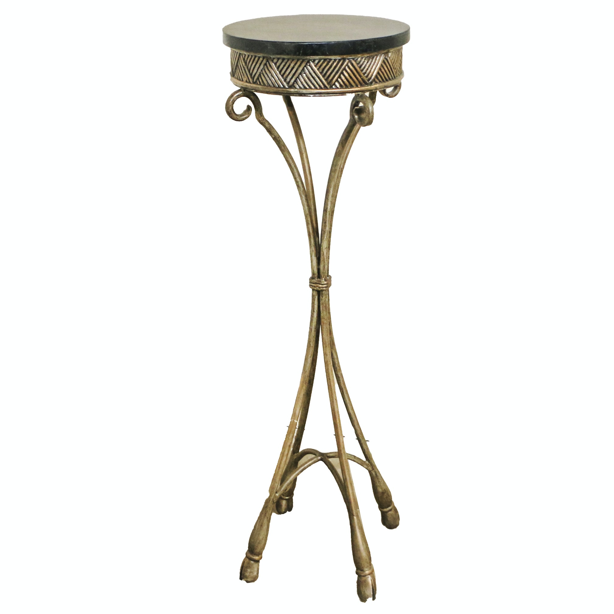 Metal and Stone Plant Stand, 21st Century