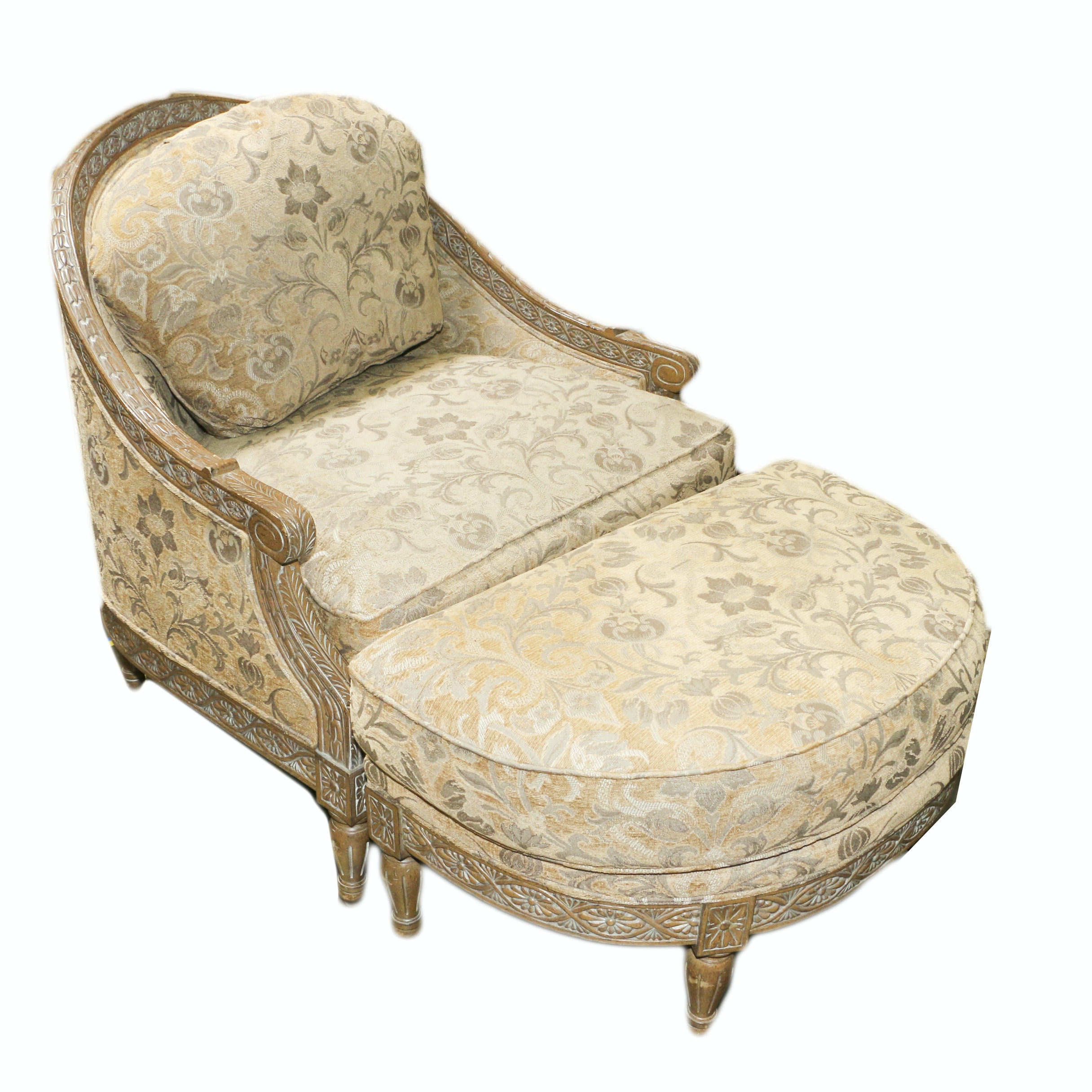 Louis XVI Style Carved Wood Frame Upholstered Armchair and Ottoman, 21st Century