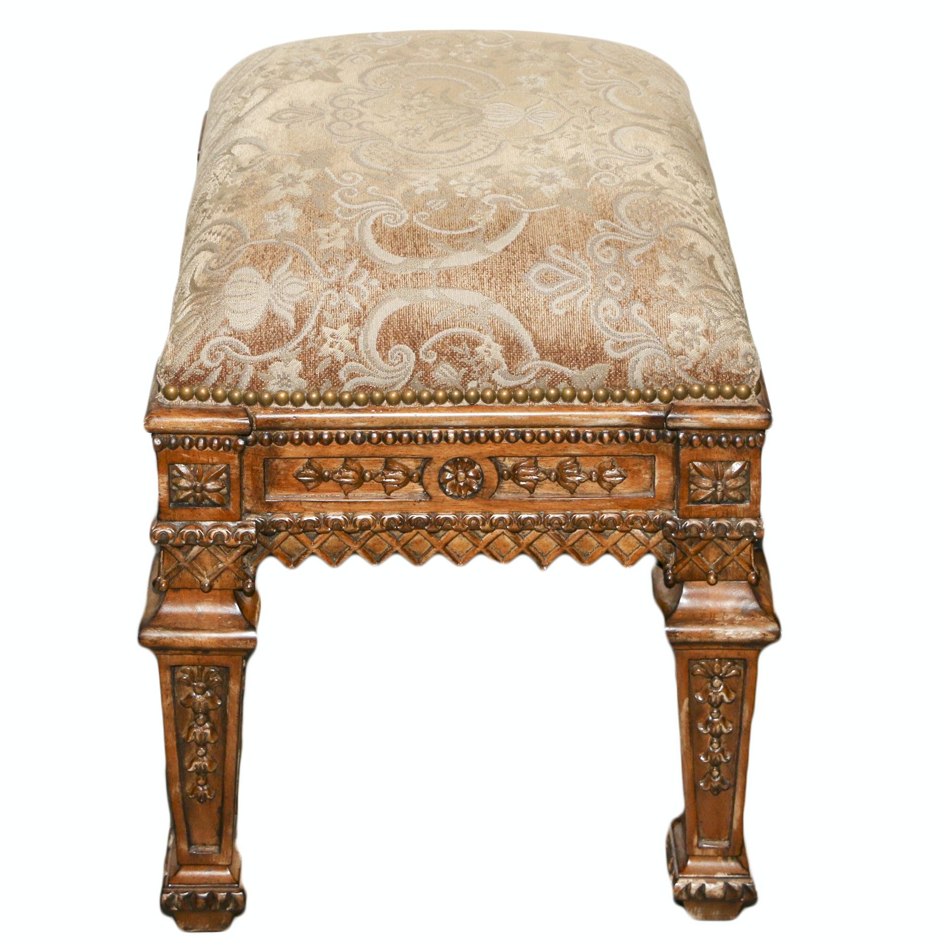 """French Style Carved Wood Frame Upholstered """"Marquis"""" Ottoman by Hooker, 21st C."""
