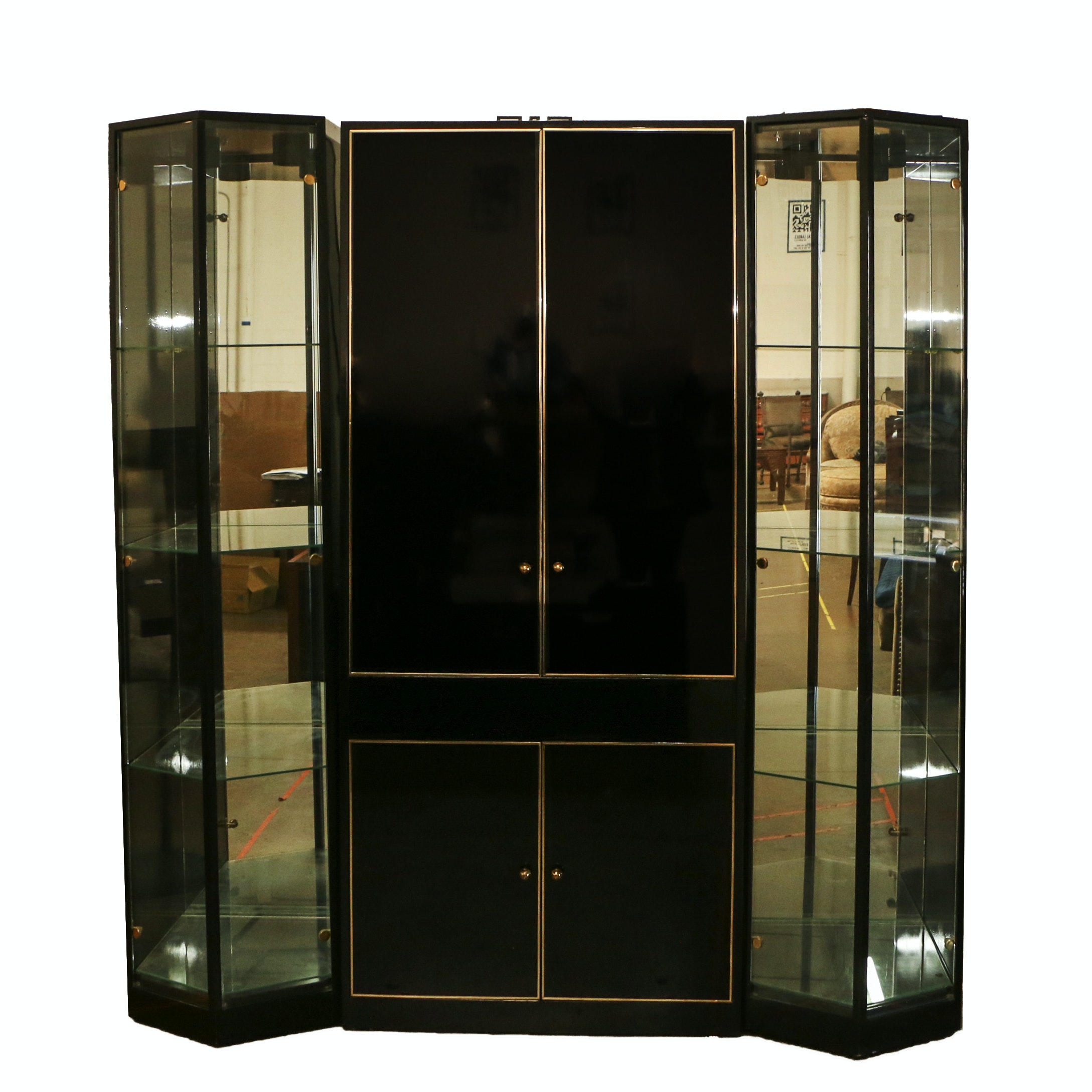 Deco Revival Wood and Mirrored China Cabinet, 20th Century