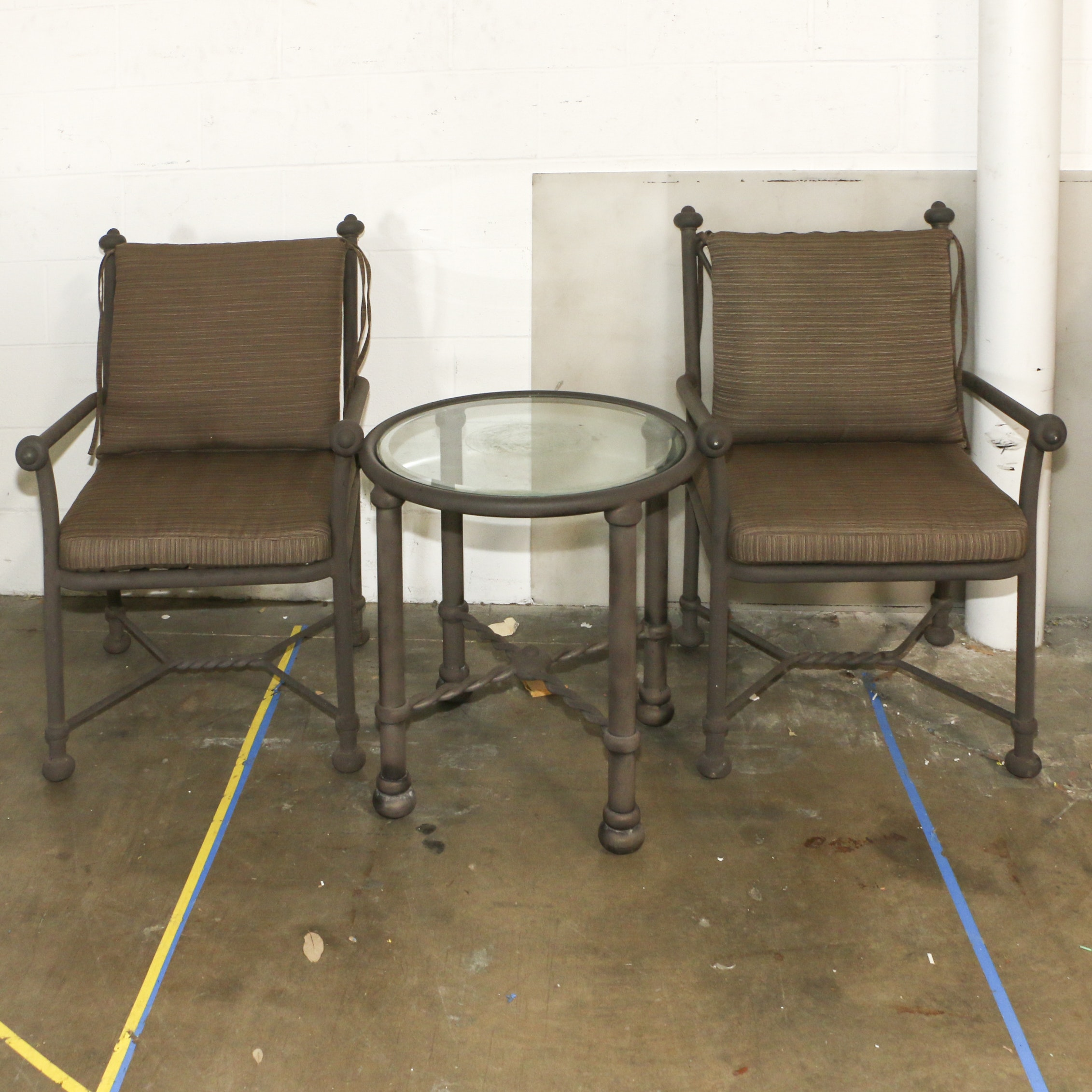 Patio Armchair Pair with Glass Topped Side Table