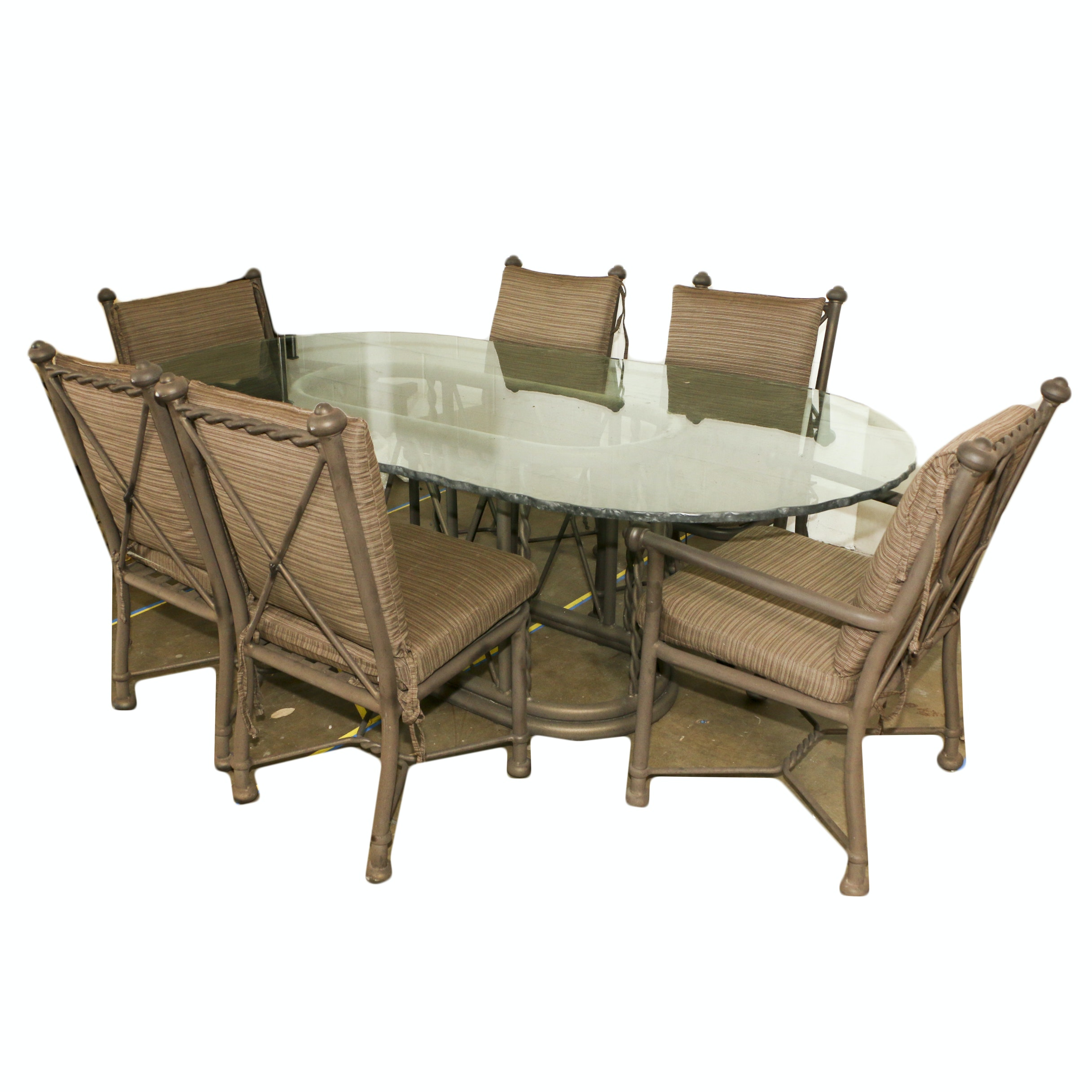 Patio Dining Table with Six Chairs, 21st Century
