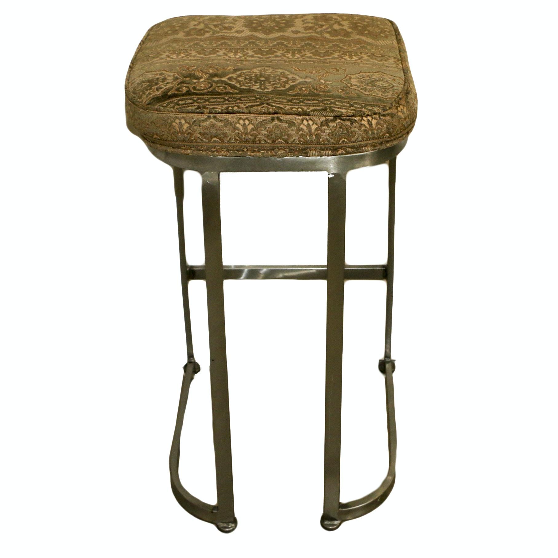 Upholstered Backless Metal Stool, 21st Century