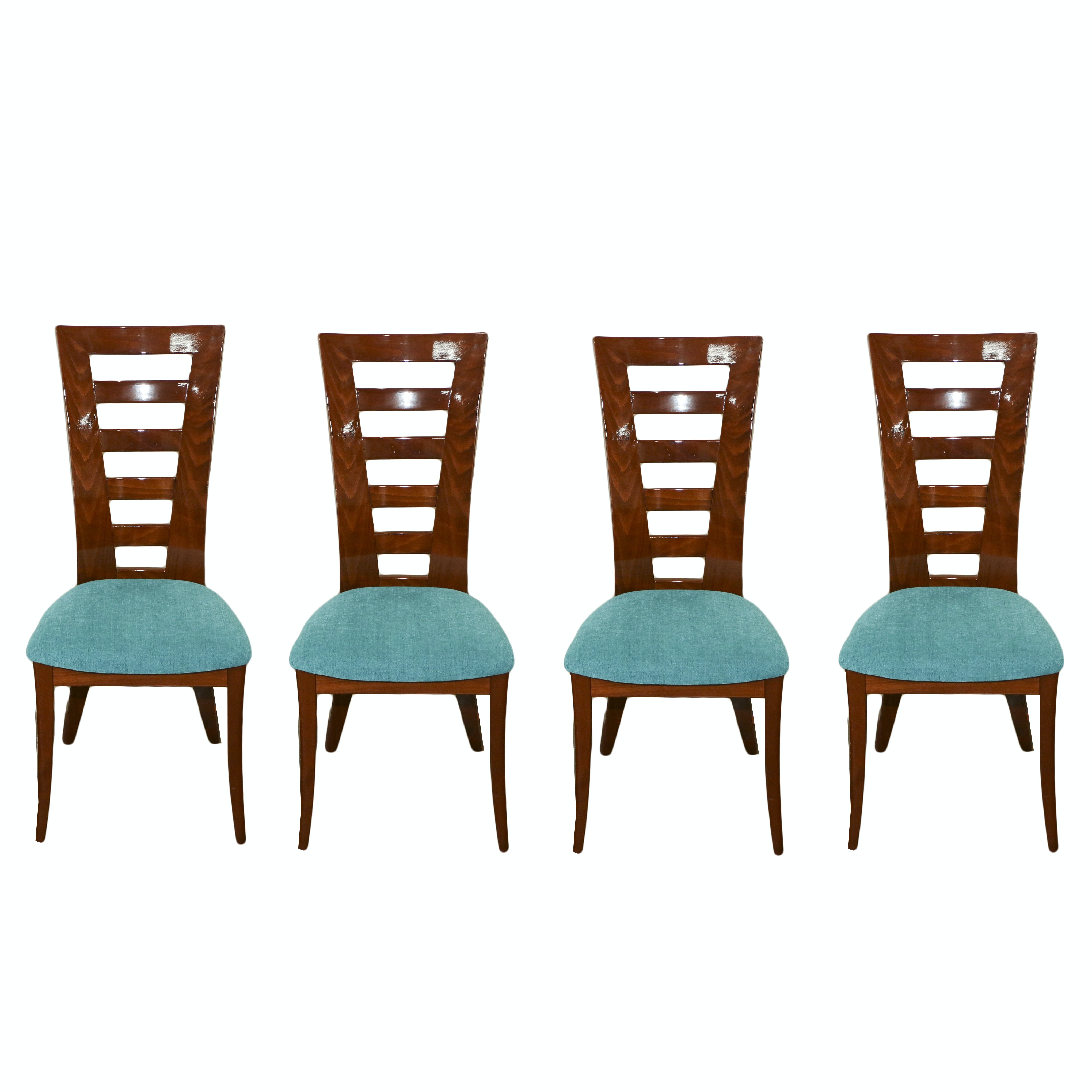 Four Italian Modernist Dining Chairs with Rosewood Inlay