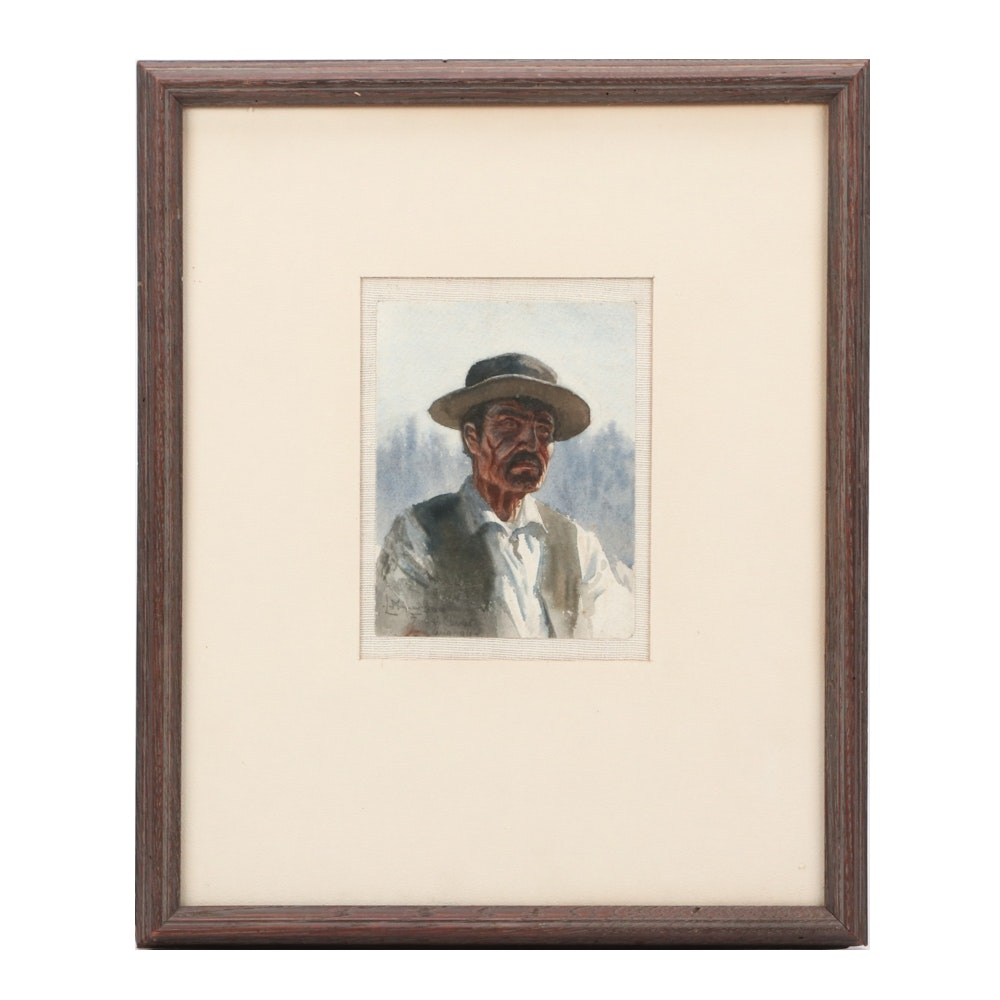 Maynard Dixon Circa 1895 Watercolor Portrait of a Man