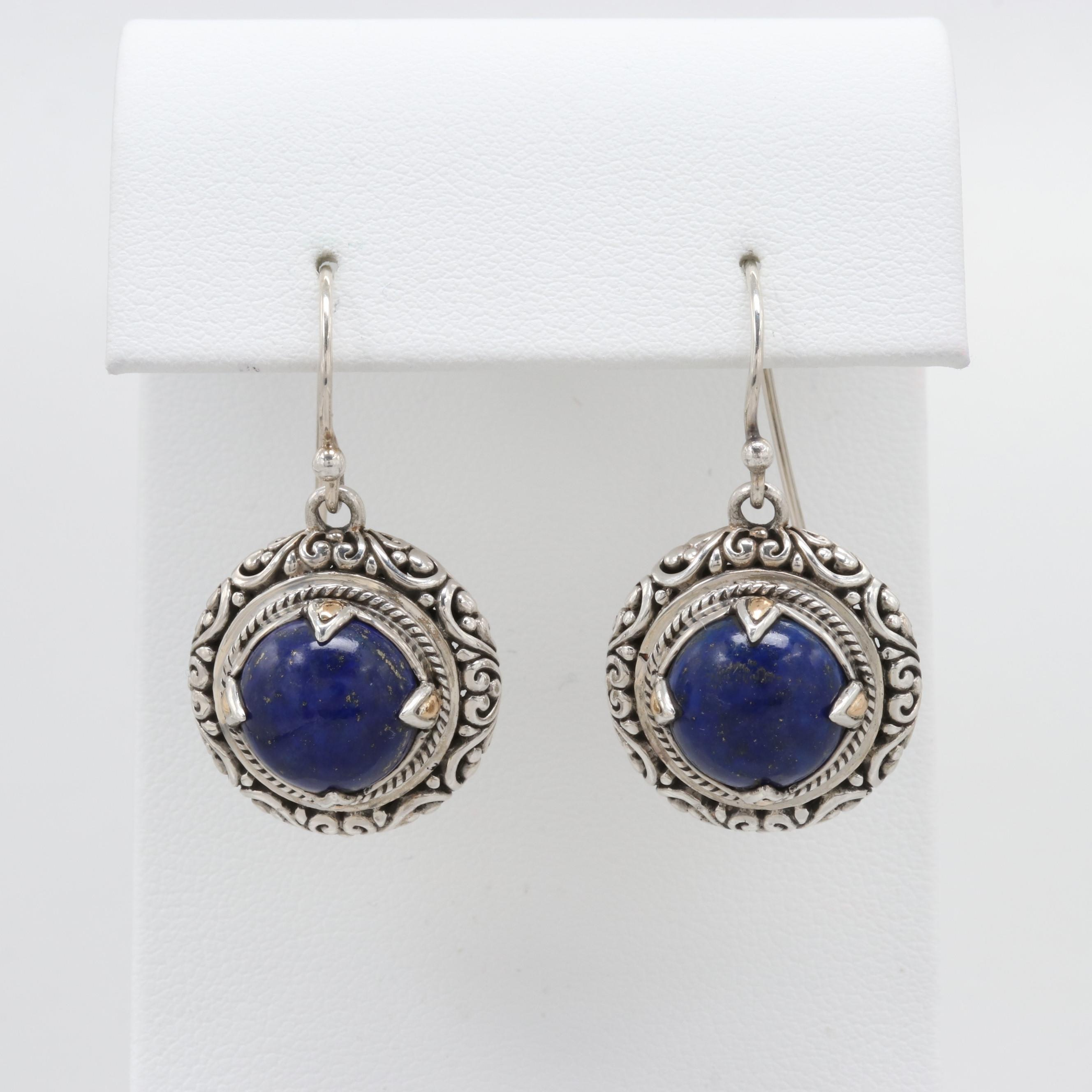 Robert Manse Sterling Silver Lapis Lazuli Earrings with 18K Yellow Gold Accents