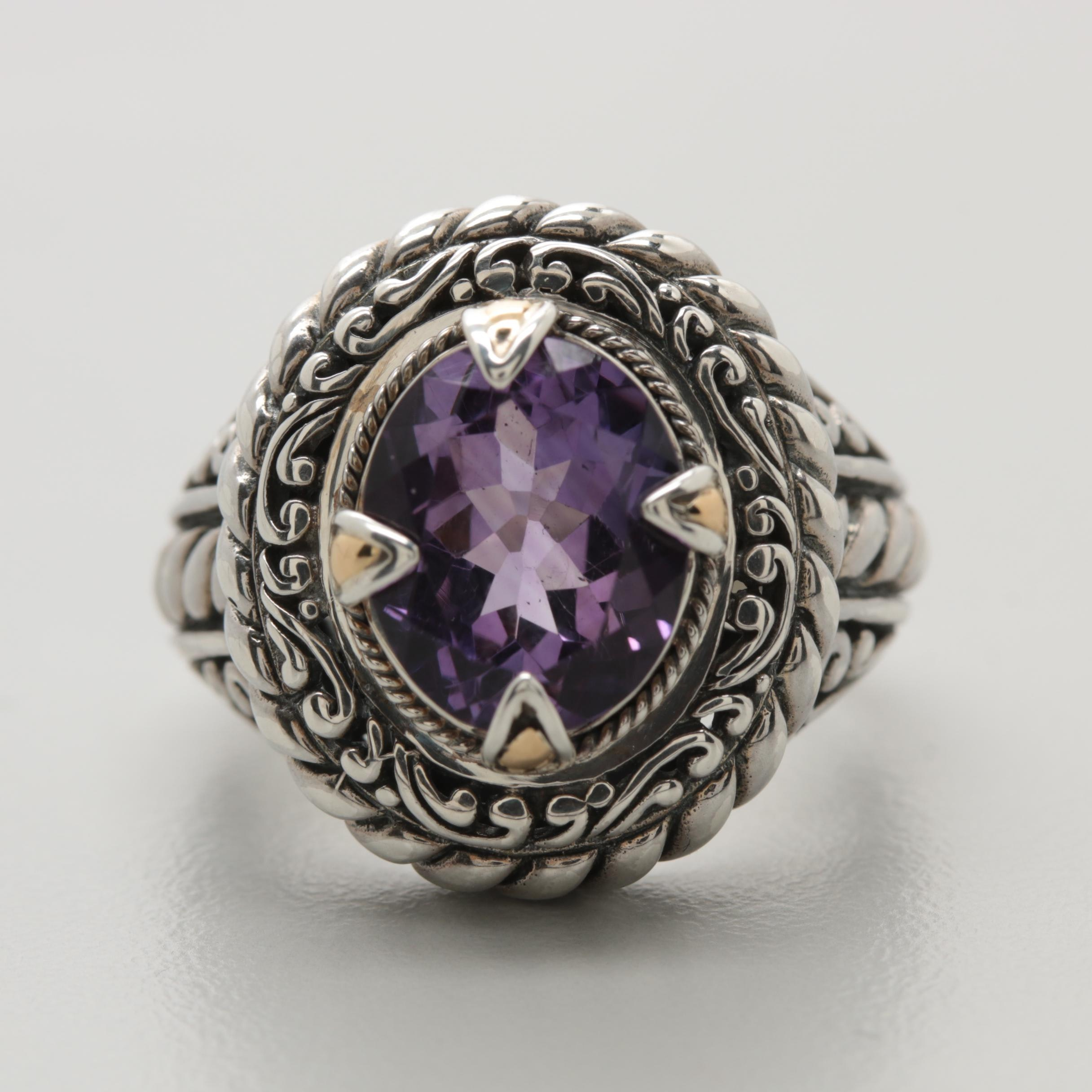 Robert Manse Sterling Silver Amethyst Ring with 18K Yellow Gold Accents