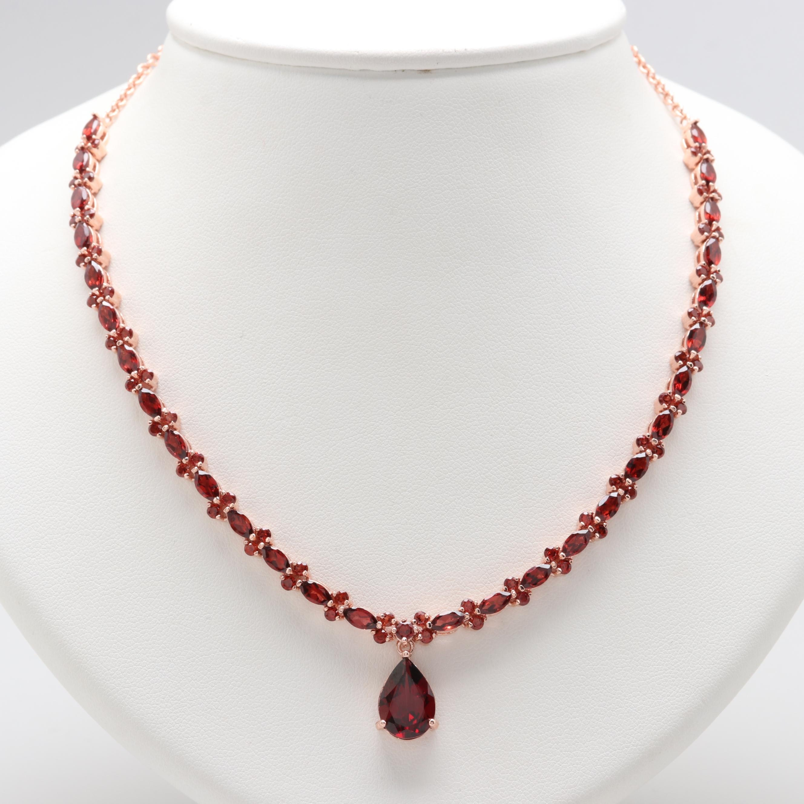 Rose Gold Wash on Sterling Silver Garnet Necklace