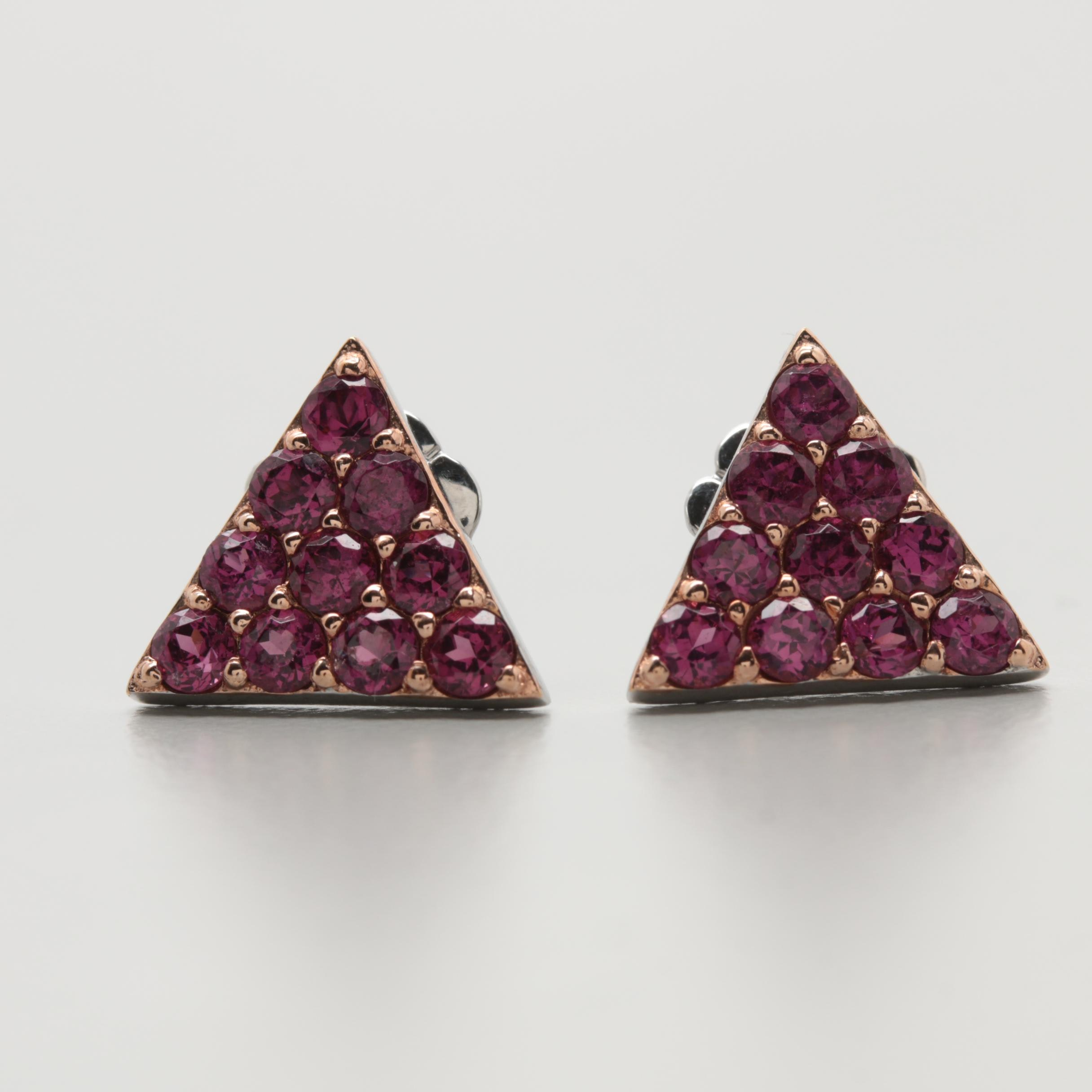 Robert Manse Sterling Silver Rhodolite Garnet Earrings With Gold Wash Accents