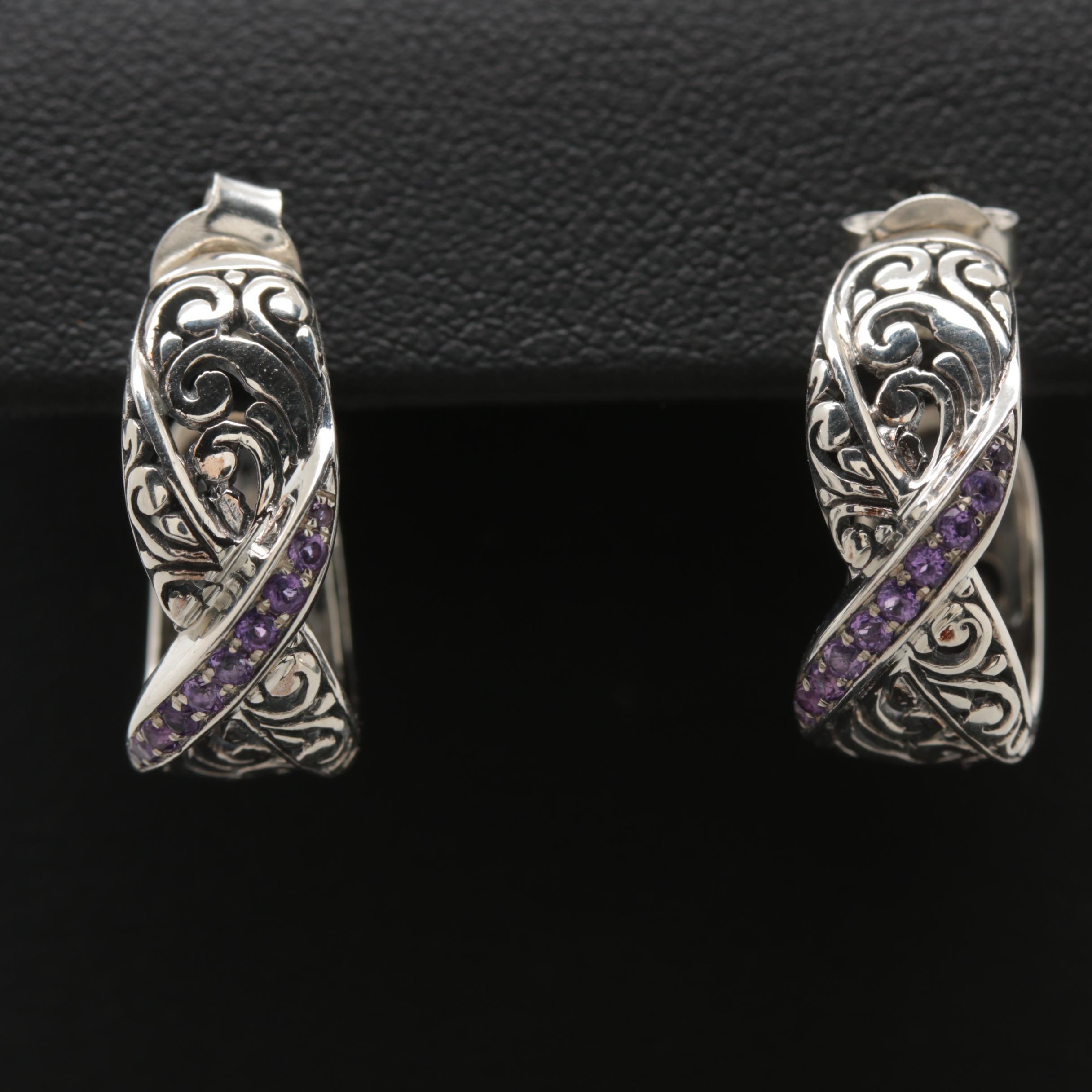 Robert Manse Sterling Silver Amethyst Hoop Earrings
