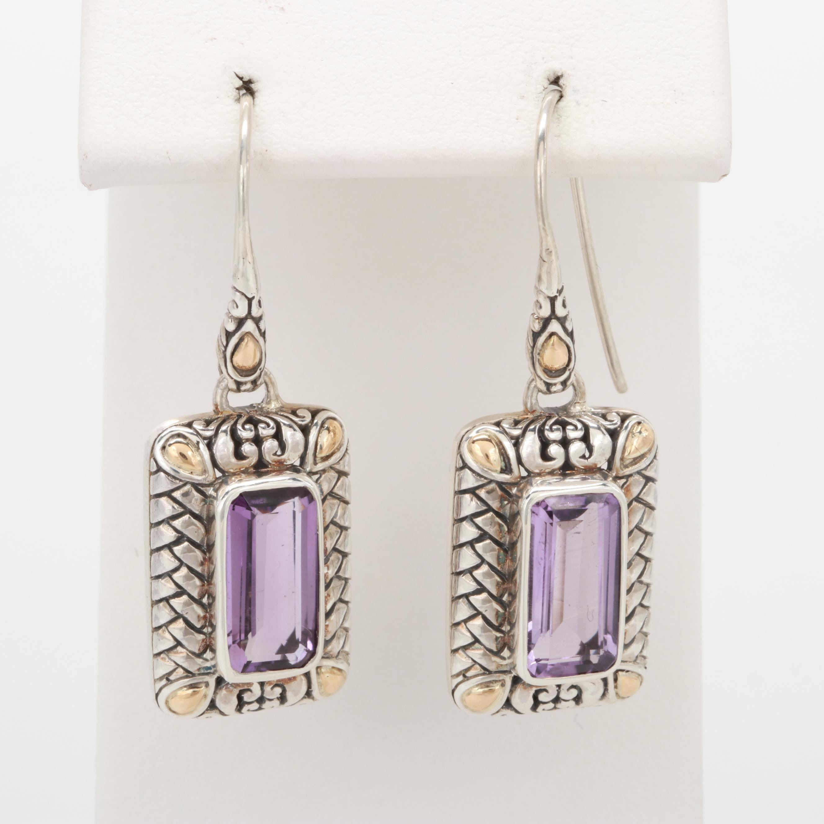 Robert Manse Sterling Silver Amethyst Earrings with 18K Yellow Gold Accents