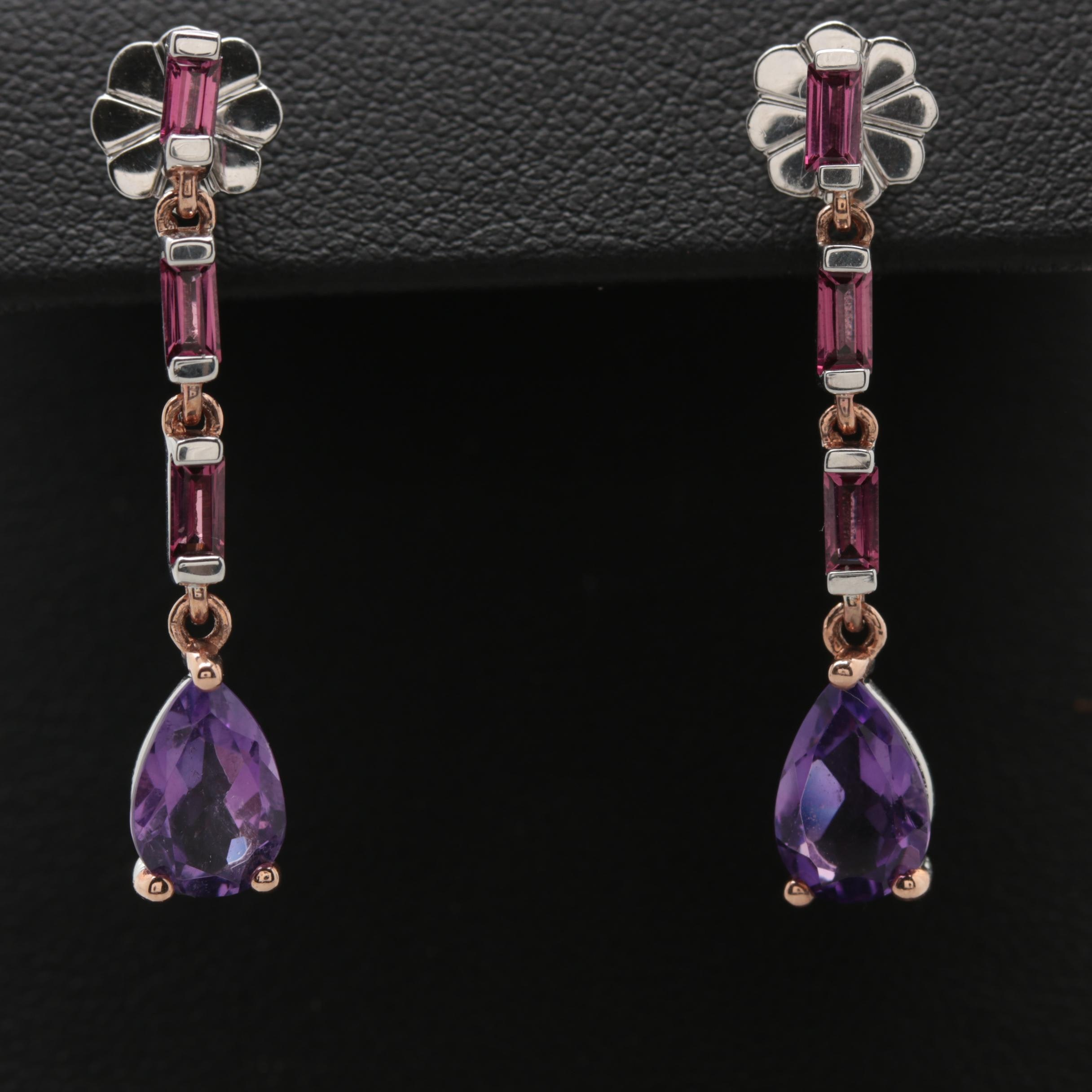 Robert Manse Sterling Rhodolite Garnet and Amethyst Earrings with Rose Gold Wash