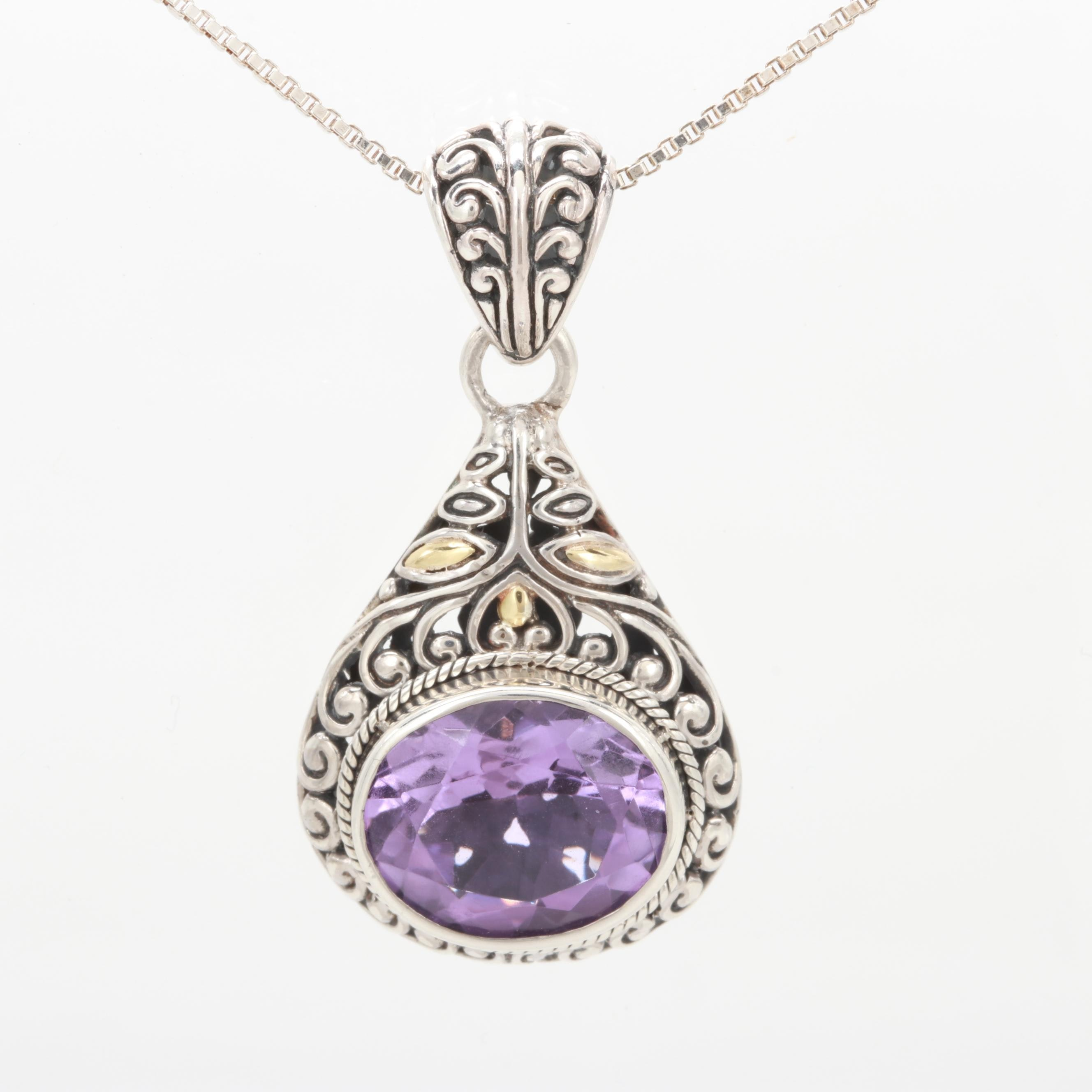 Robert Manse Sterling Silver Amethyst Necklace with 18K Accents
