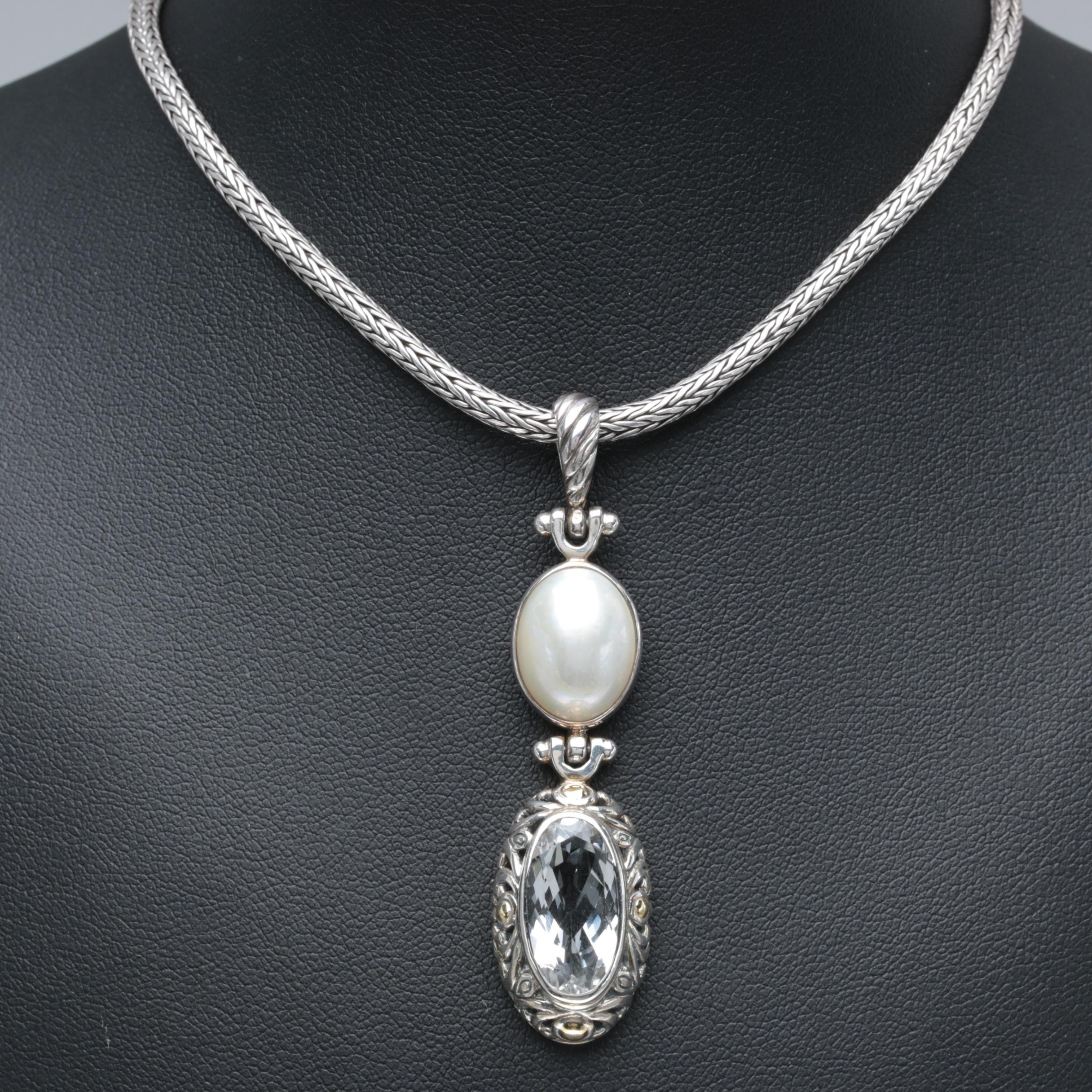Robert Manse Sterling Topaz and Cultured Mabe Pearl Necklace with 18K Accents