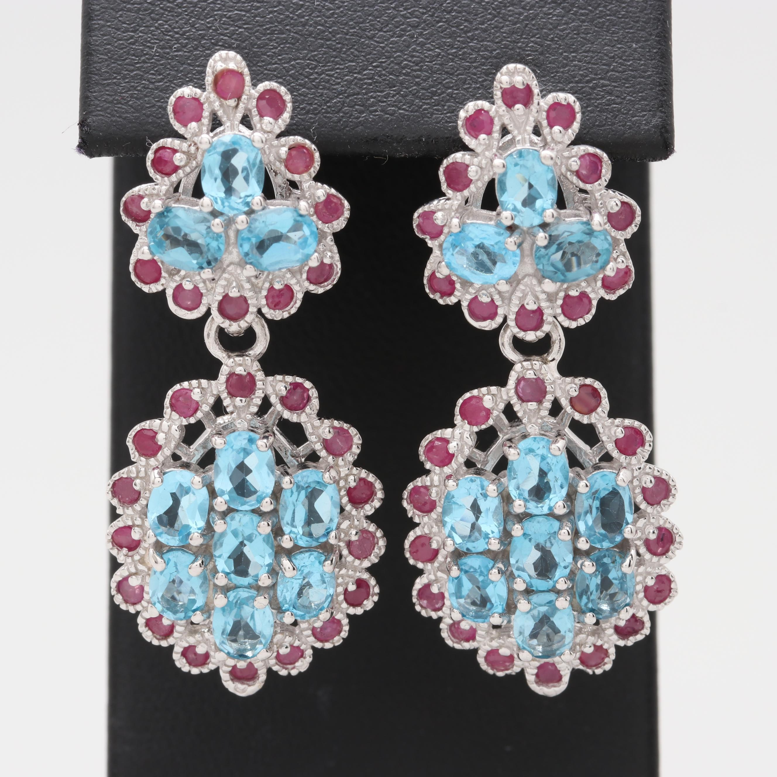 Sterling Silver Blue Topaz and Ruby Dangle Earrings