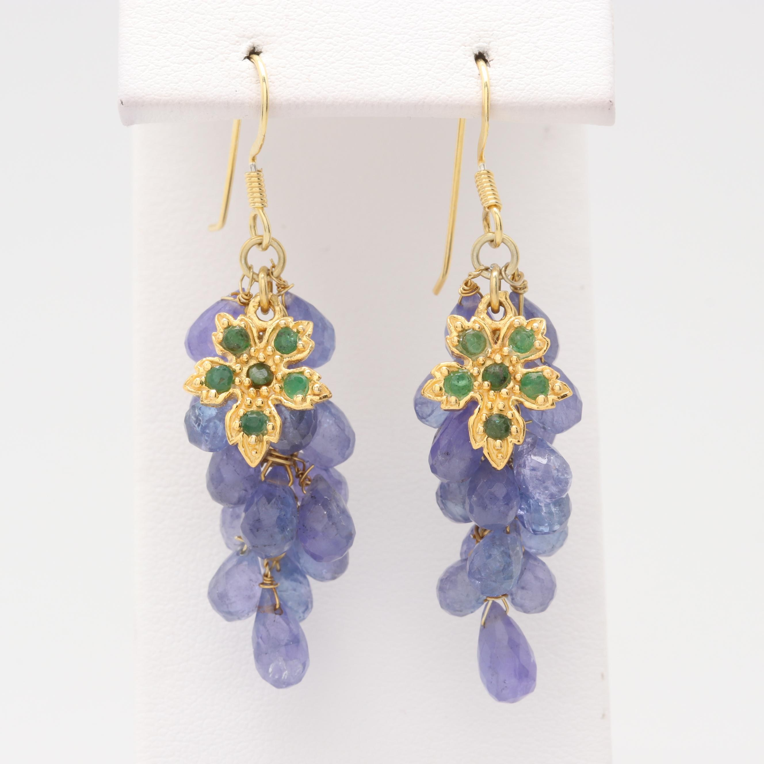 Sterling Silver Tanzanite and Emerald Dangle Earrings