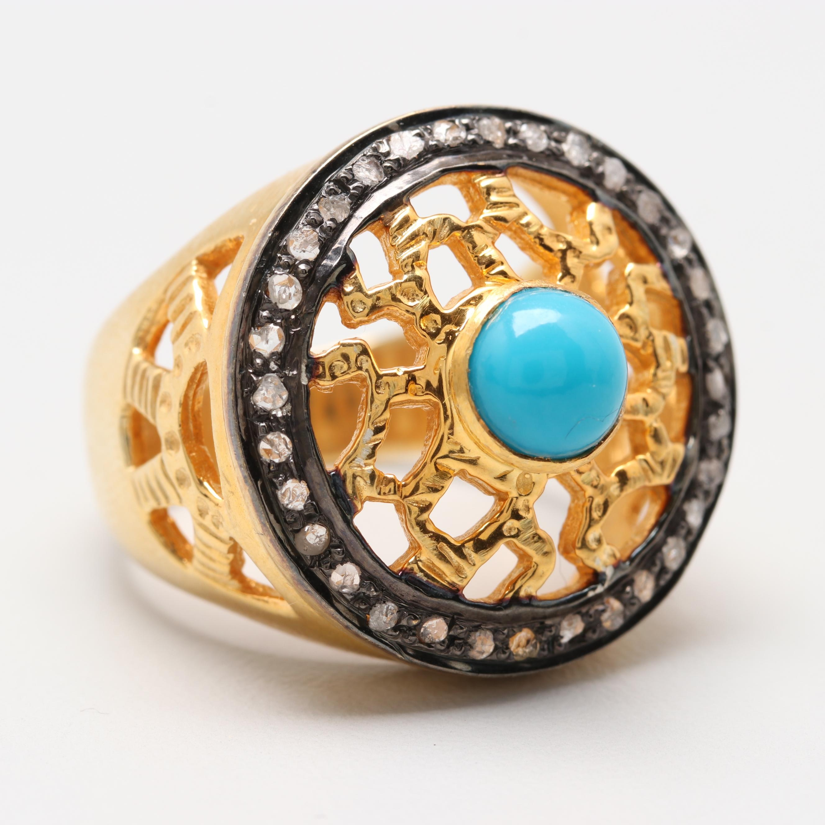 Gold Wash on Sterling Silver Turquoise and Diamond Ring