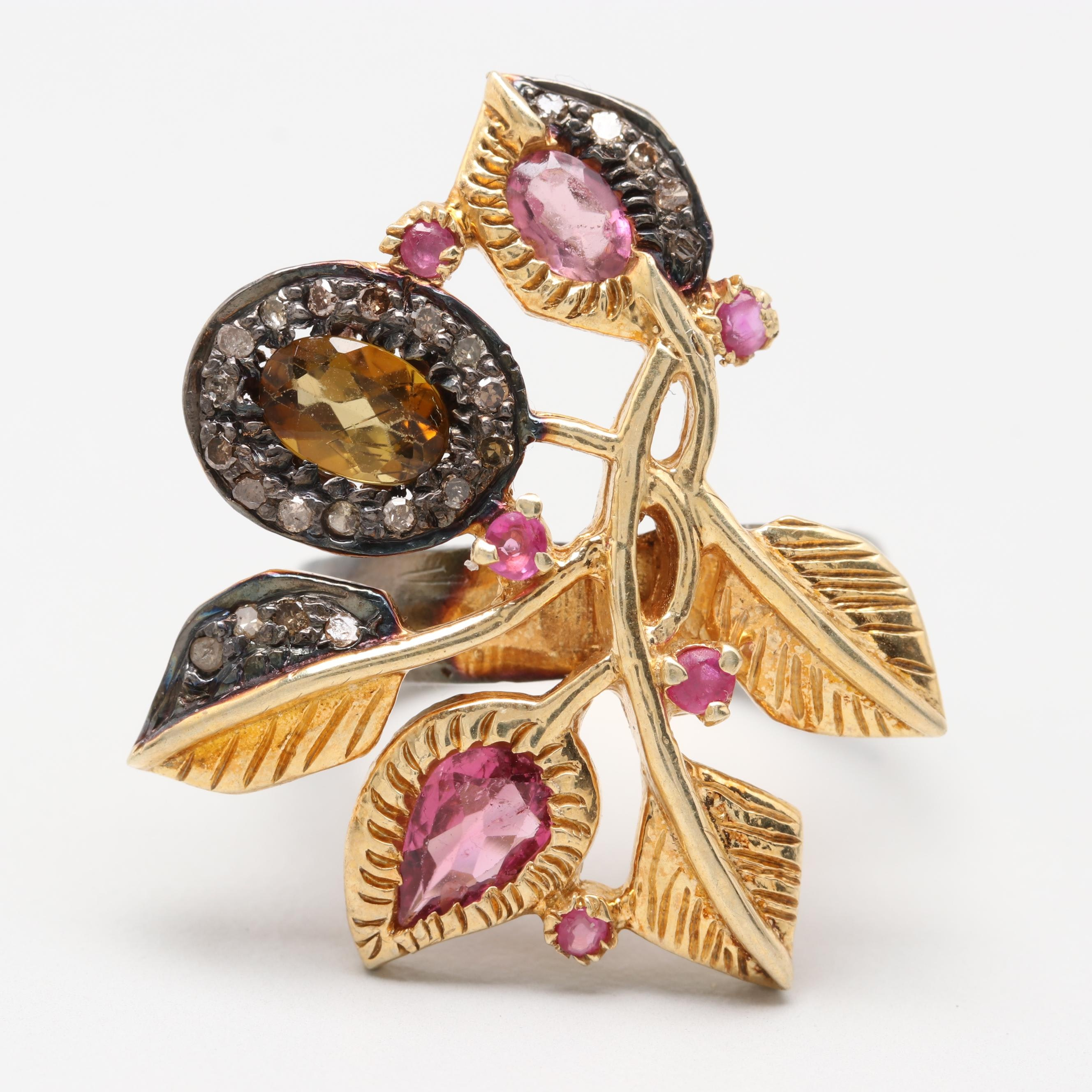 Gold Wash on Sterling Silver Foliate Ruby, Tourmaline and Diamond Statement Ring