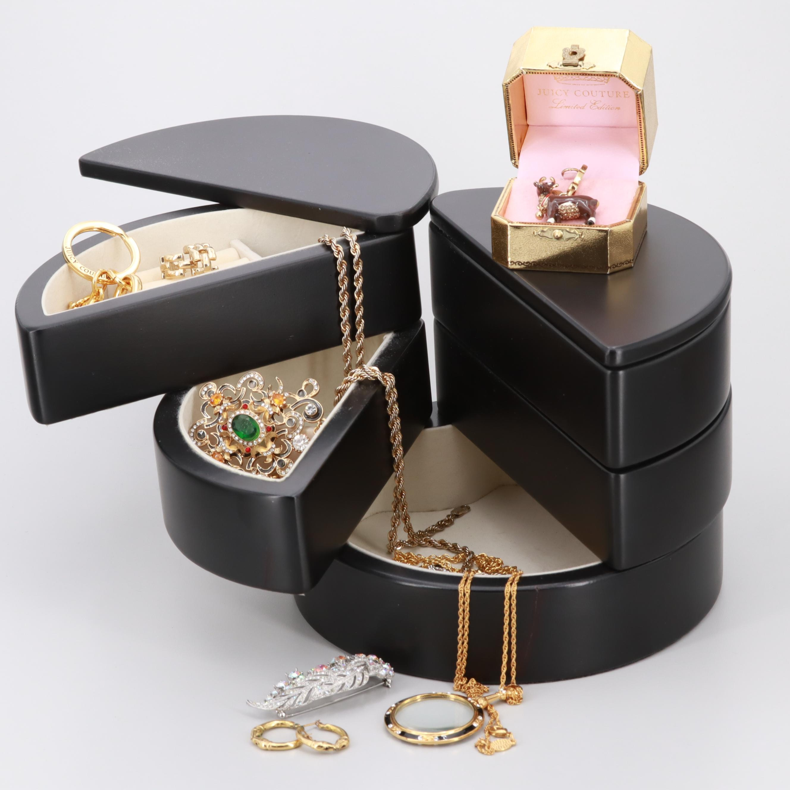 Assortment of Costume Glass and Enamel Jewelry With Jewelry Box