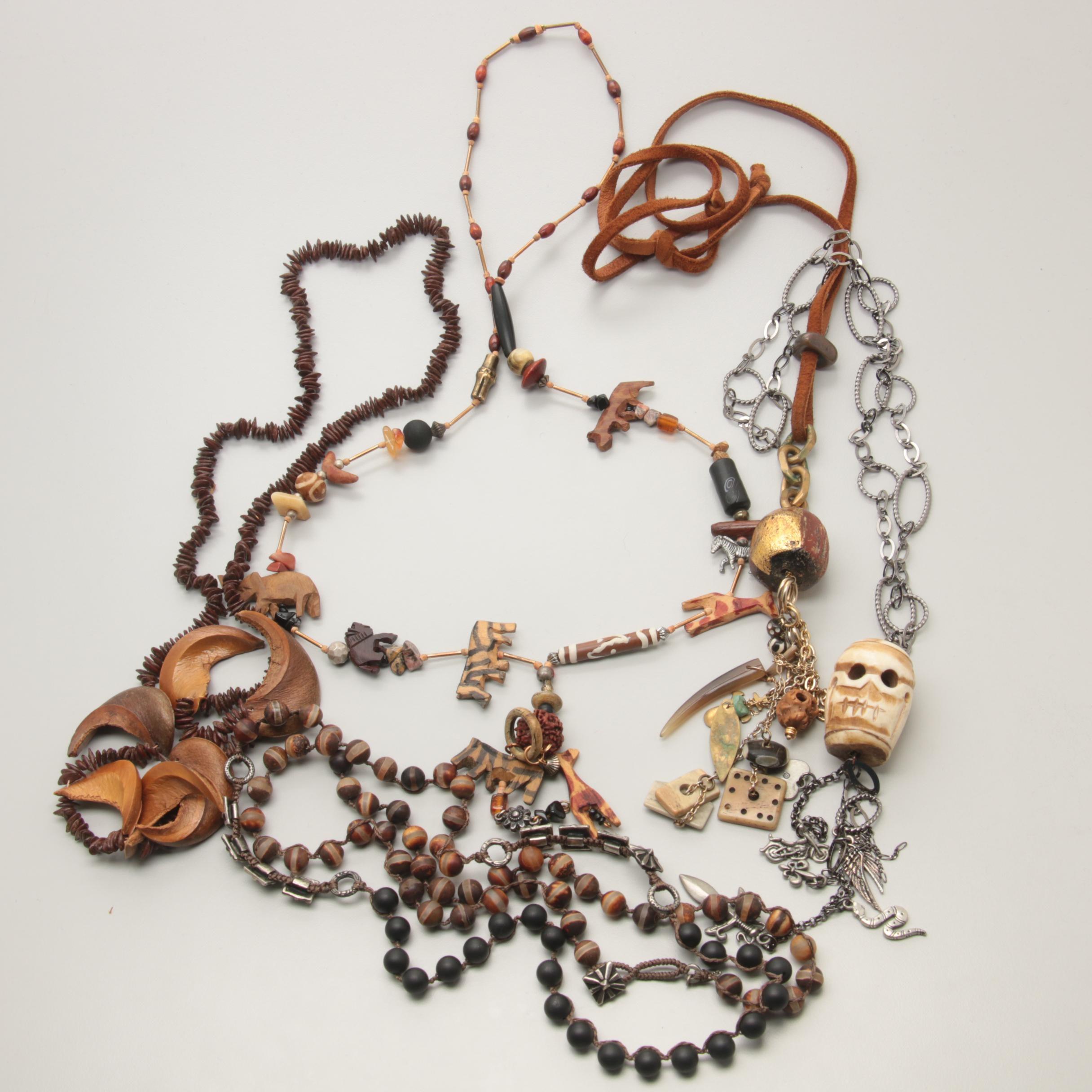 Costume Bone, Wood and Jasper Jewelry with Animal Fetish Necklace